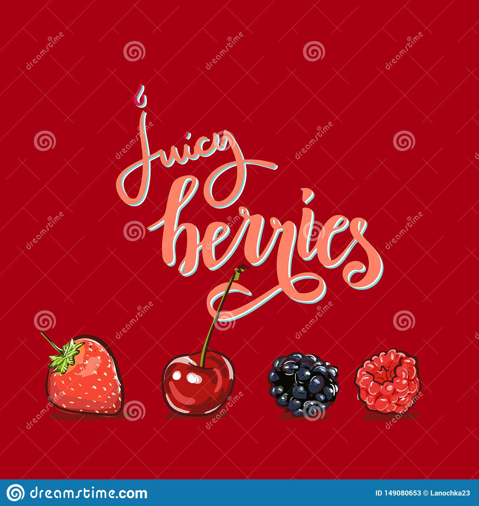 Juicy Berry Lettering Hand Drawn Vector Set  Berry Colorful