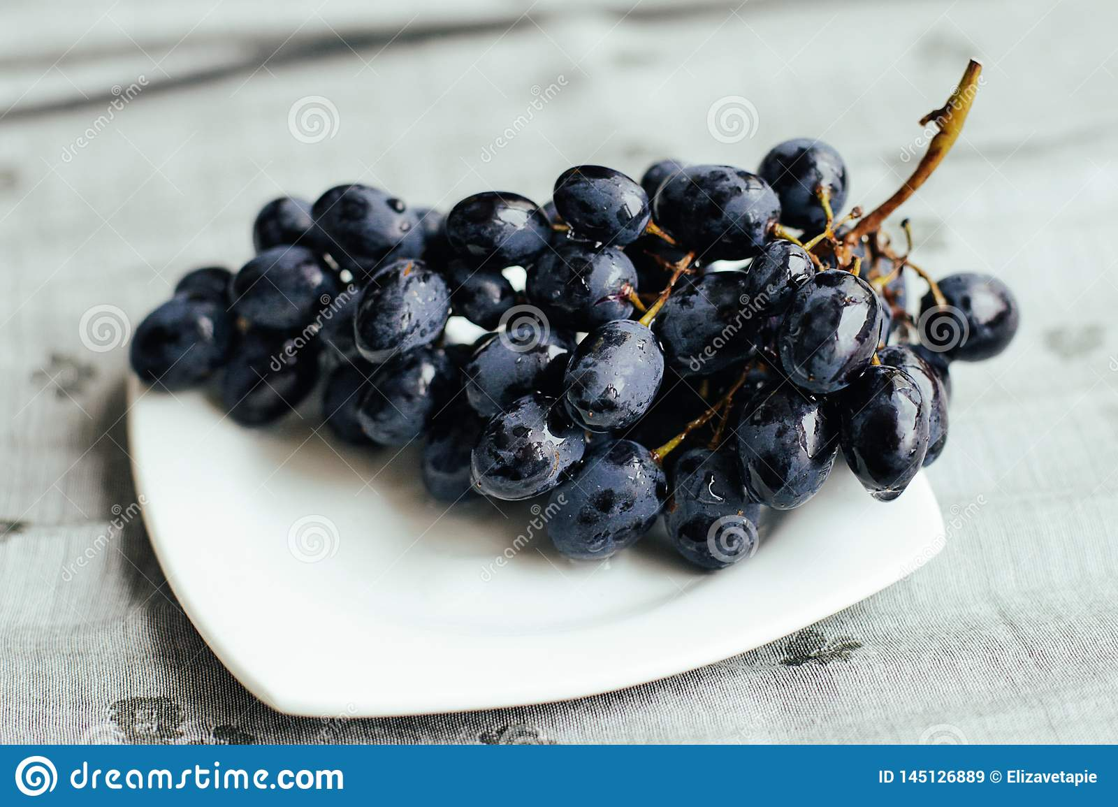 Juicy blue grapes