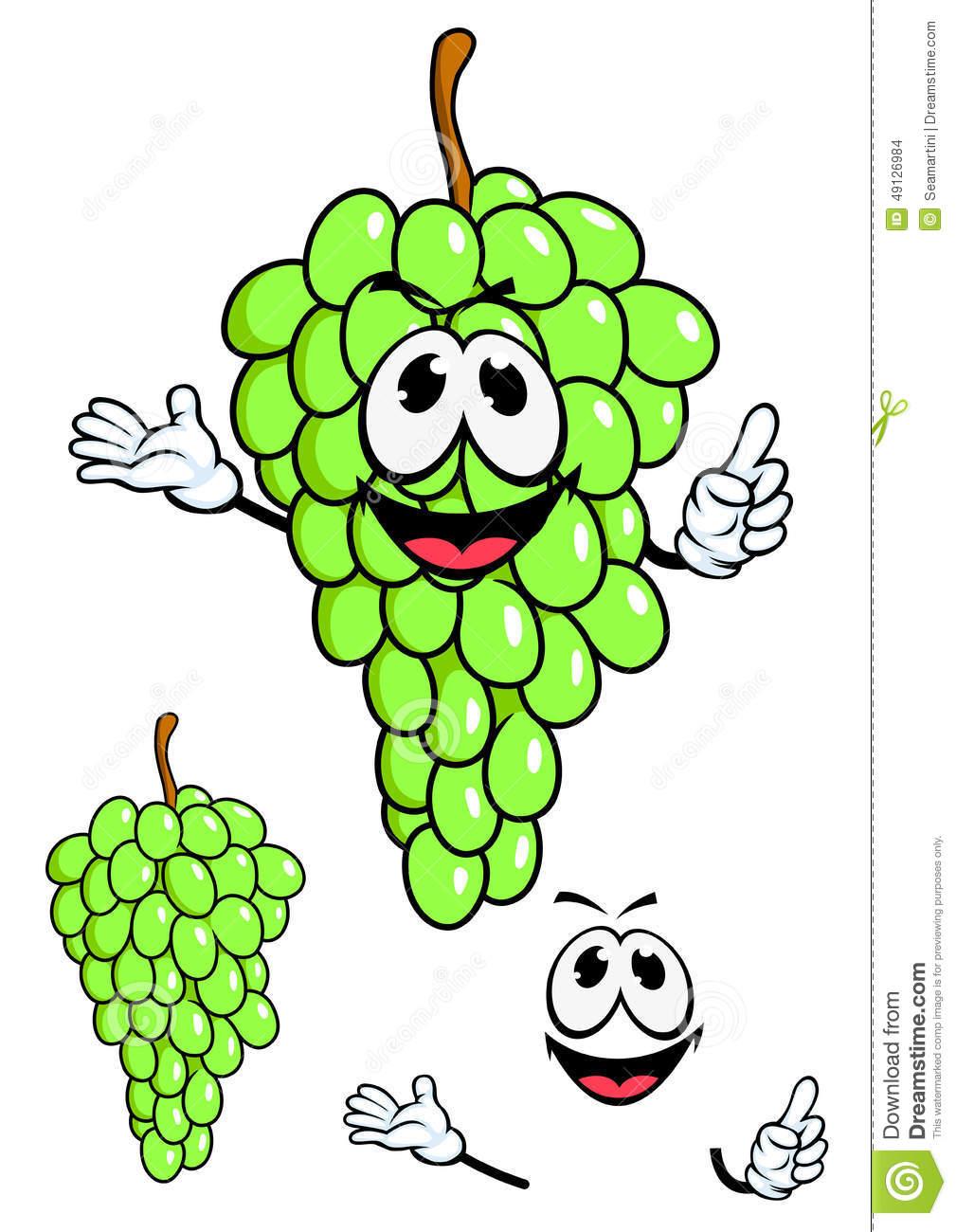 Juicy Green Grape Fruit In Cartoon Style Stock Vector ...