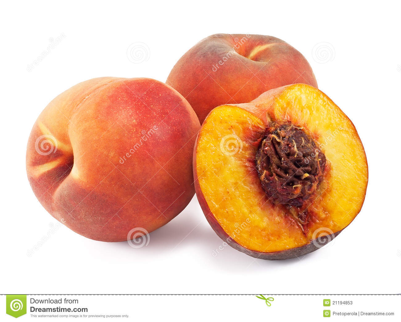 Juicy peaches isolated on white