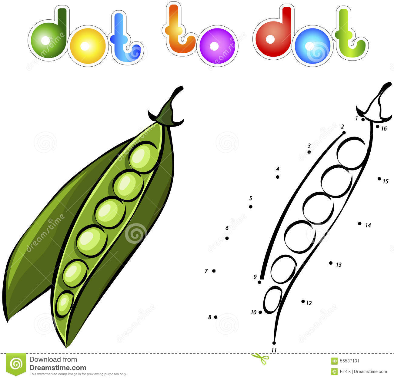 Juicy Ripe Peas. Educational Game For Kids: Connect Numbers Dot ...