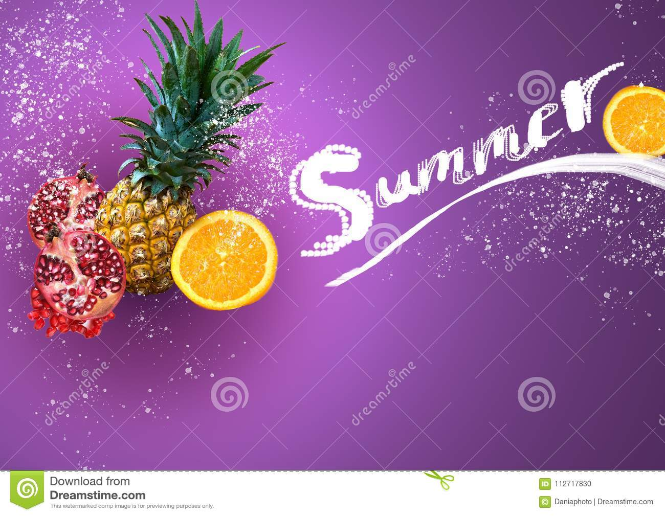 Tropical Fruits on Colorful Background in Summer Concept