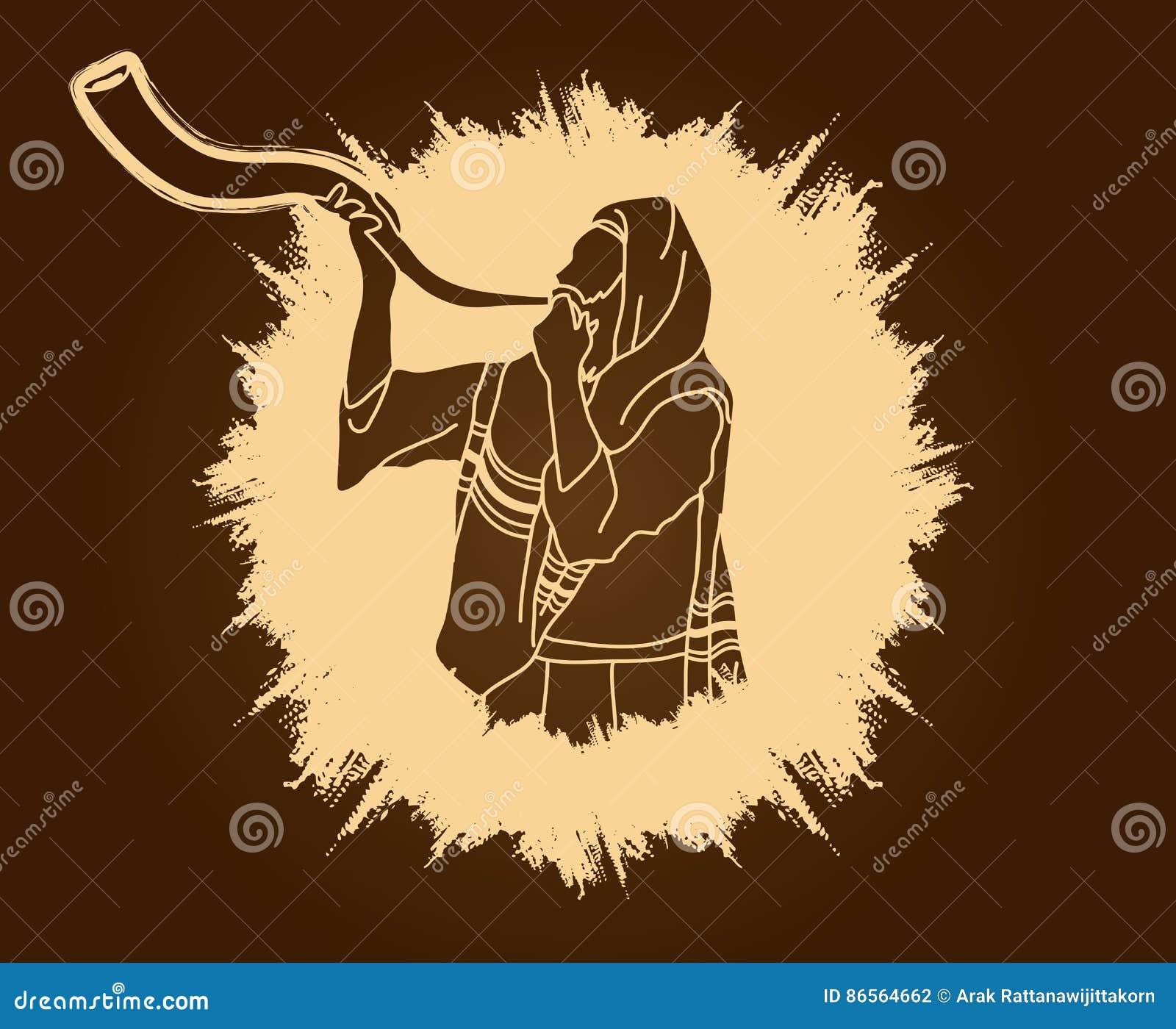 Juif soufflant le klaxon de kudu de moutons de shofar