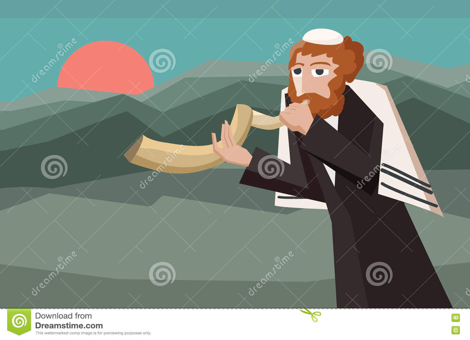 Juif soufflant le shofar
