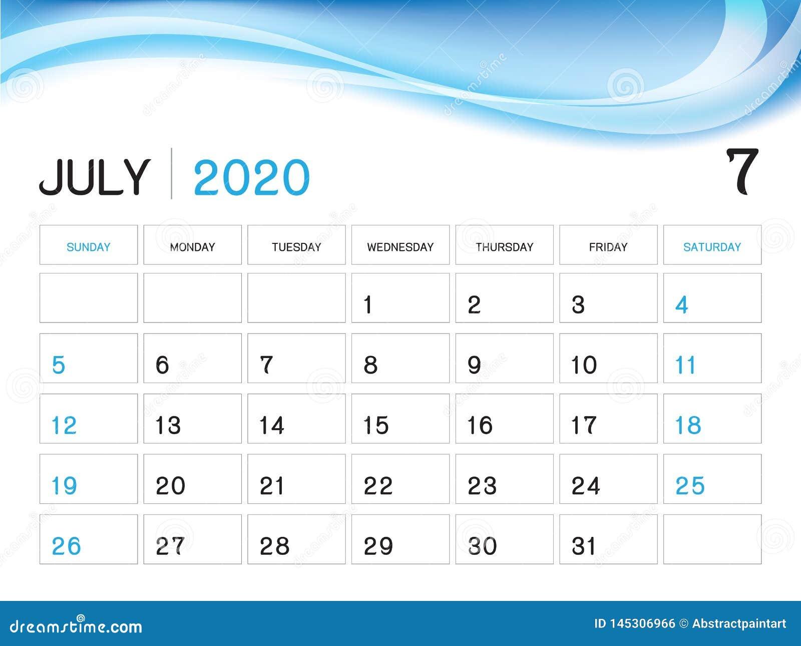 Calendrier Juillet2020.Juillet 2020 Calibre D Anna C E Vecteur Du Calendrier 2020