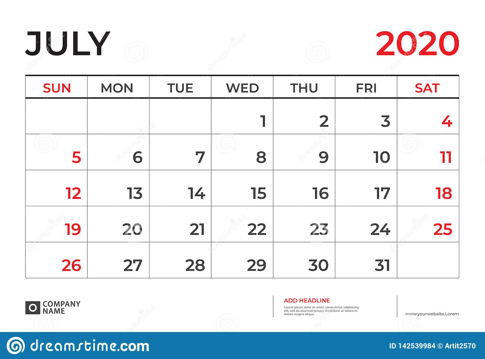 Calendrier Juillet2020.Juillet 2020 Calibre De Calendrier Taille 9 De Disposition