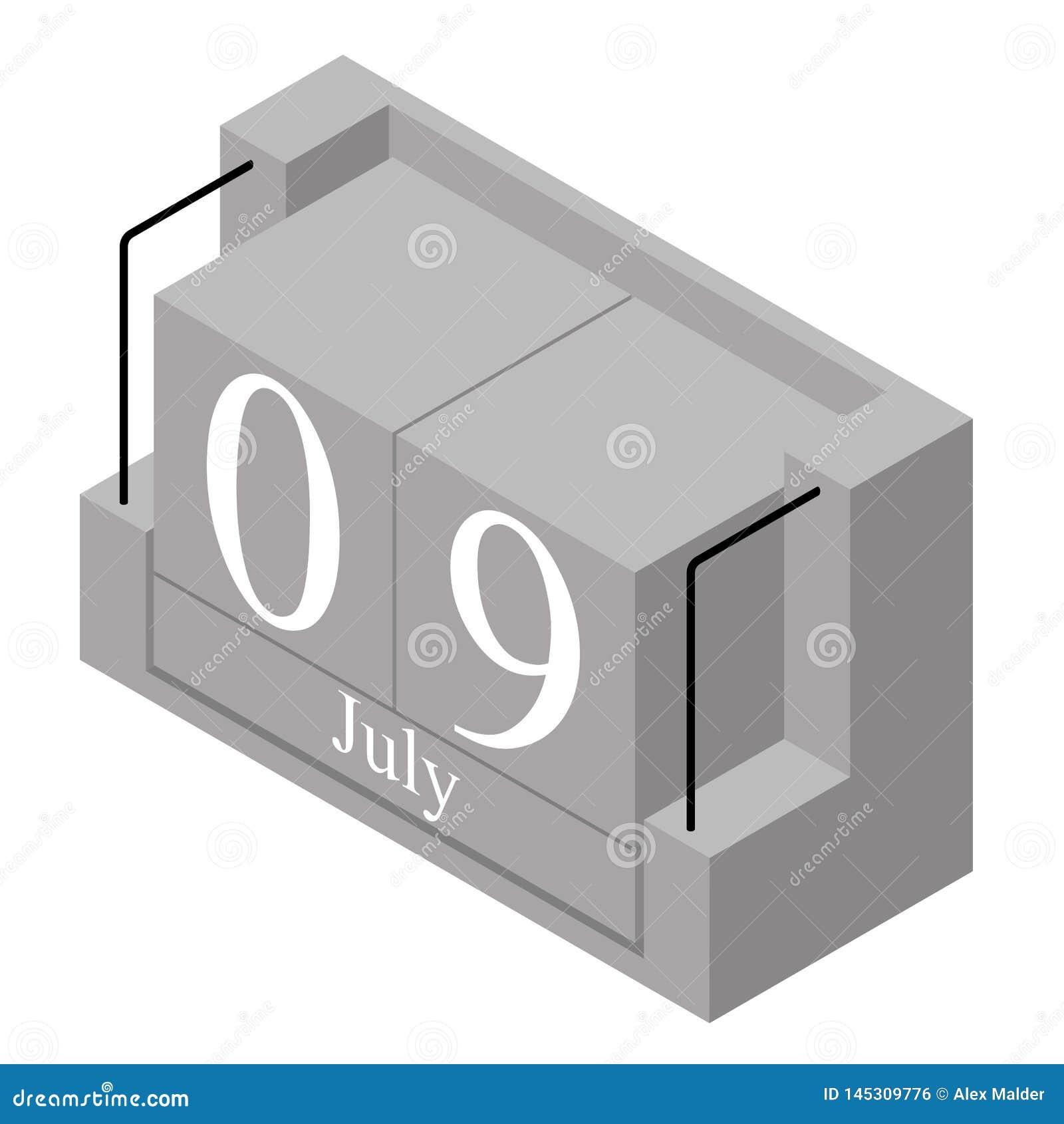 9 juillet date sur un calendrier d un seul jour Date actuelle grise 9 de calendrier de bloc en bois et mois mai d isolement sur l