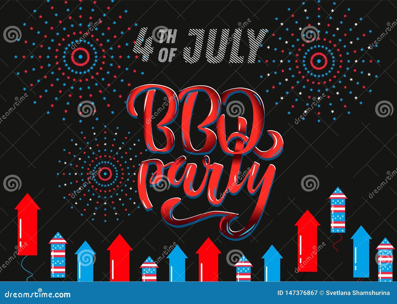 4 juillet invitation de lettrage de partie de BBQ au barbecue am?ricain de Jour de la D?claration d Ind?pendance avec des ?toiles