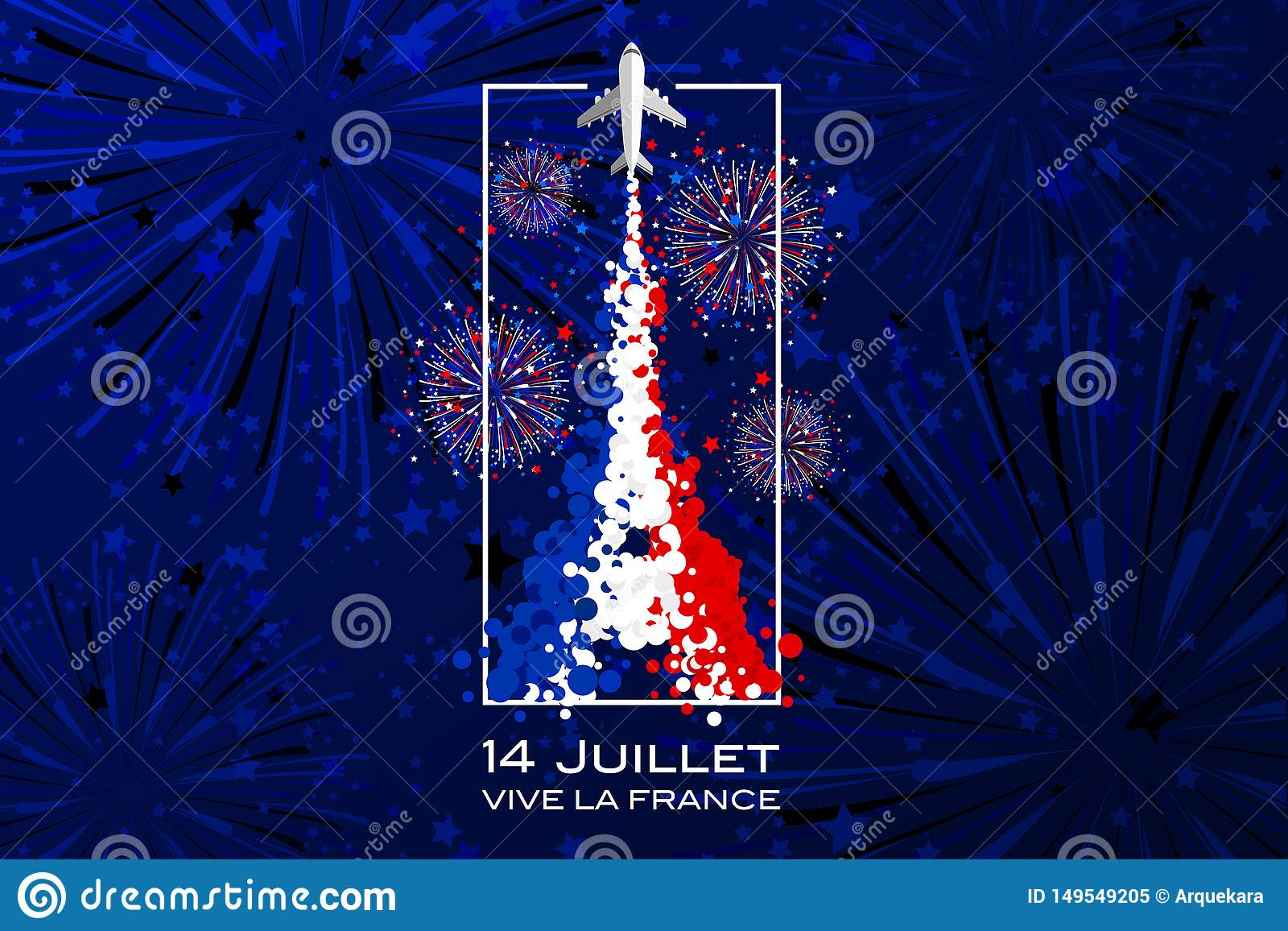 Set Of Happy Bastille Day Greetings Card Design. 14th July