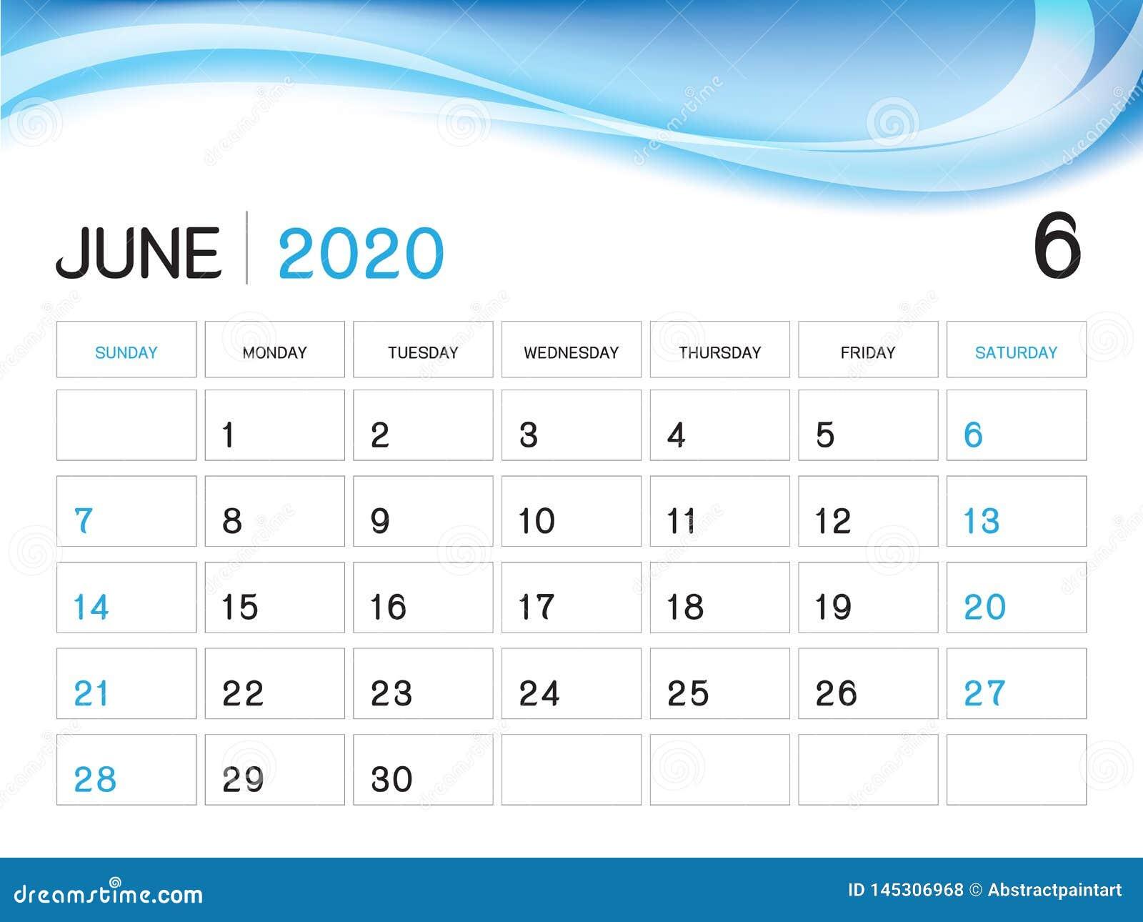 Calendrier Juin 2020.Juin 2020 Calibre D Annee Vecteur Du Calendrier 2020
