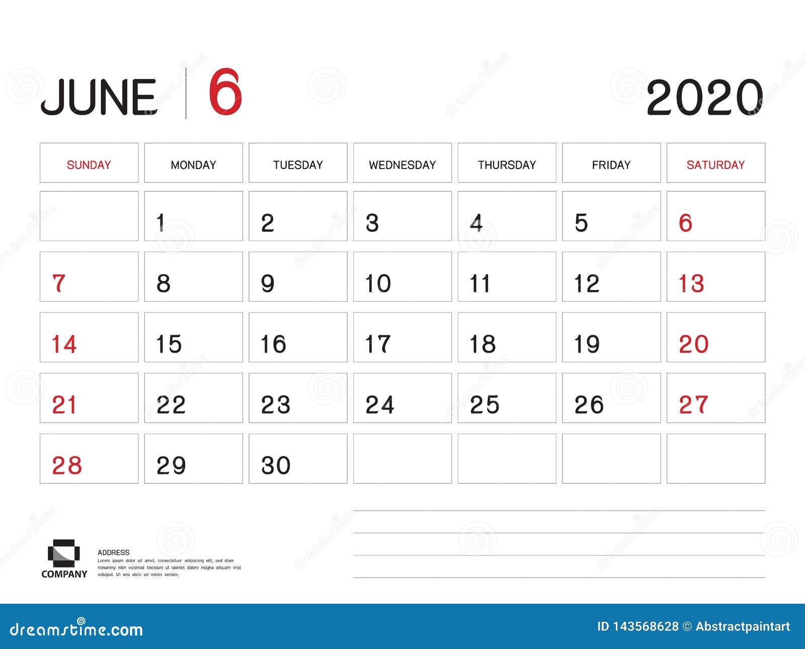 Calendrier Juin 2020.Juin 2020 Calibre D Ann E Vecteur Du Calendrier 2020