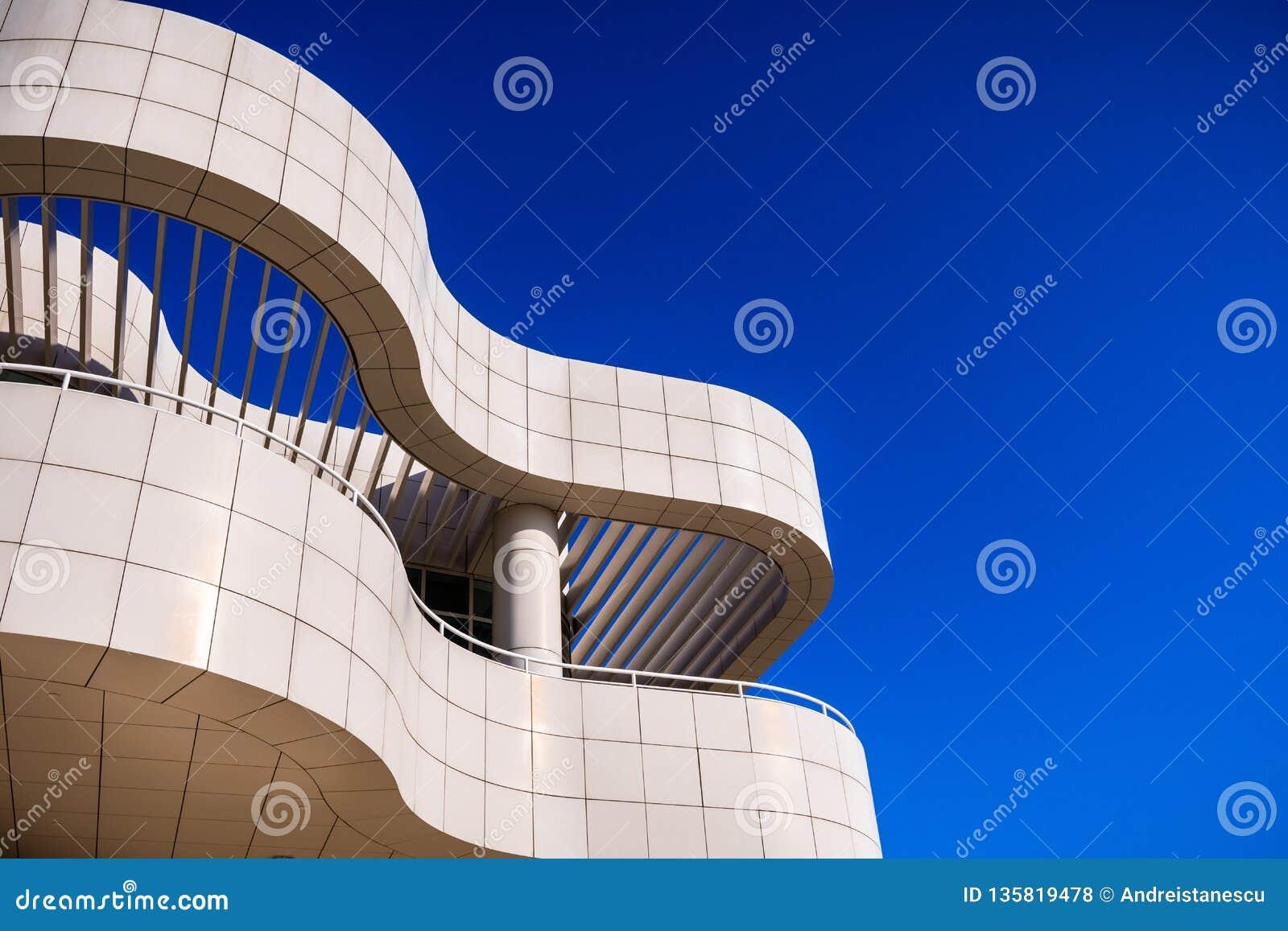 8 juin 2018 Los Angeles/CA/Etats-Unis - détail architectural d un des bâtiments au centre de Getty conçu par Richard Meier
