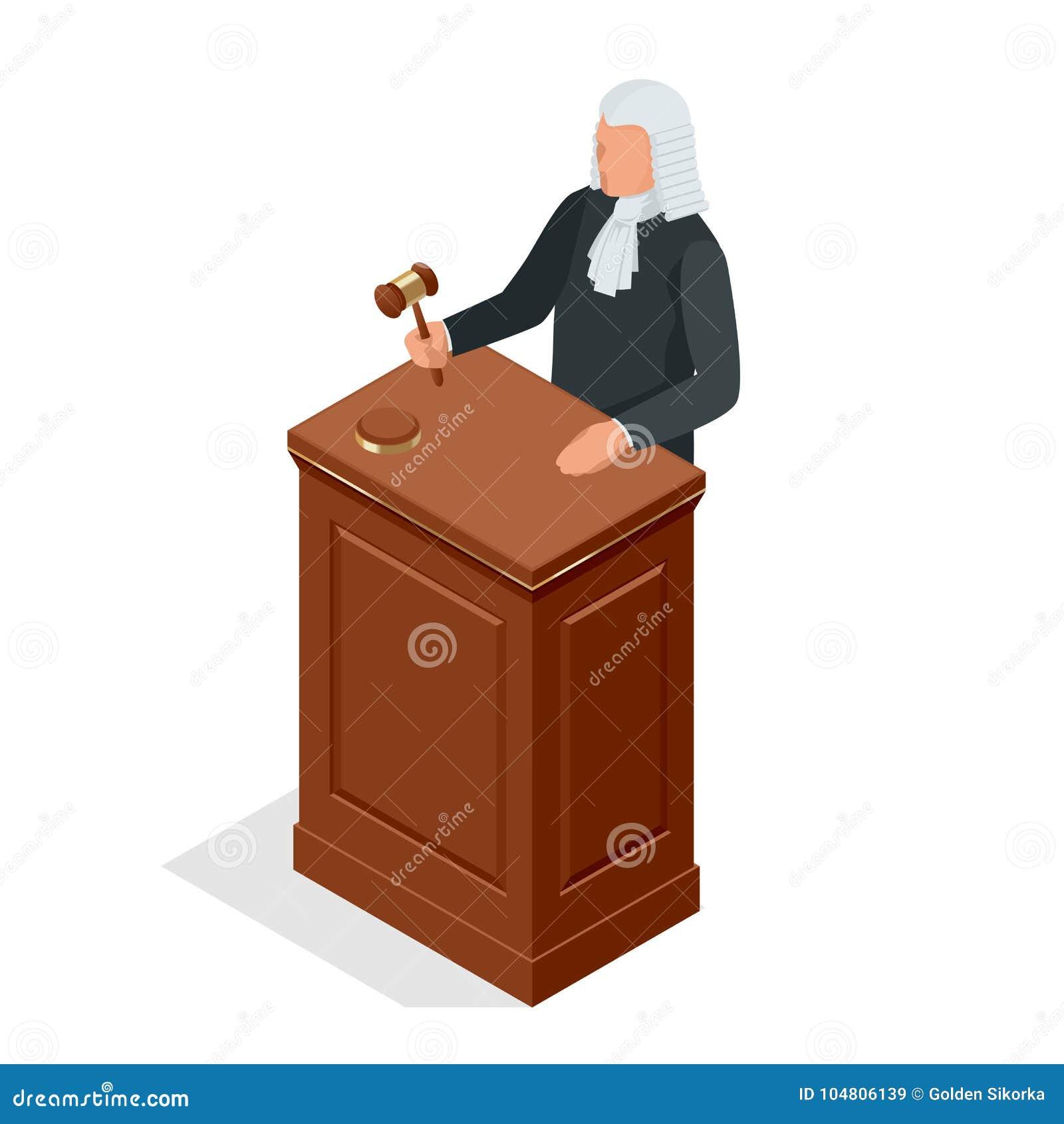 Juiz masculino isométrico em uma peruca com um martelo Conceito da lei e da justiça Ilustração do vetor
