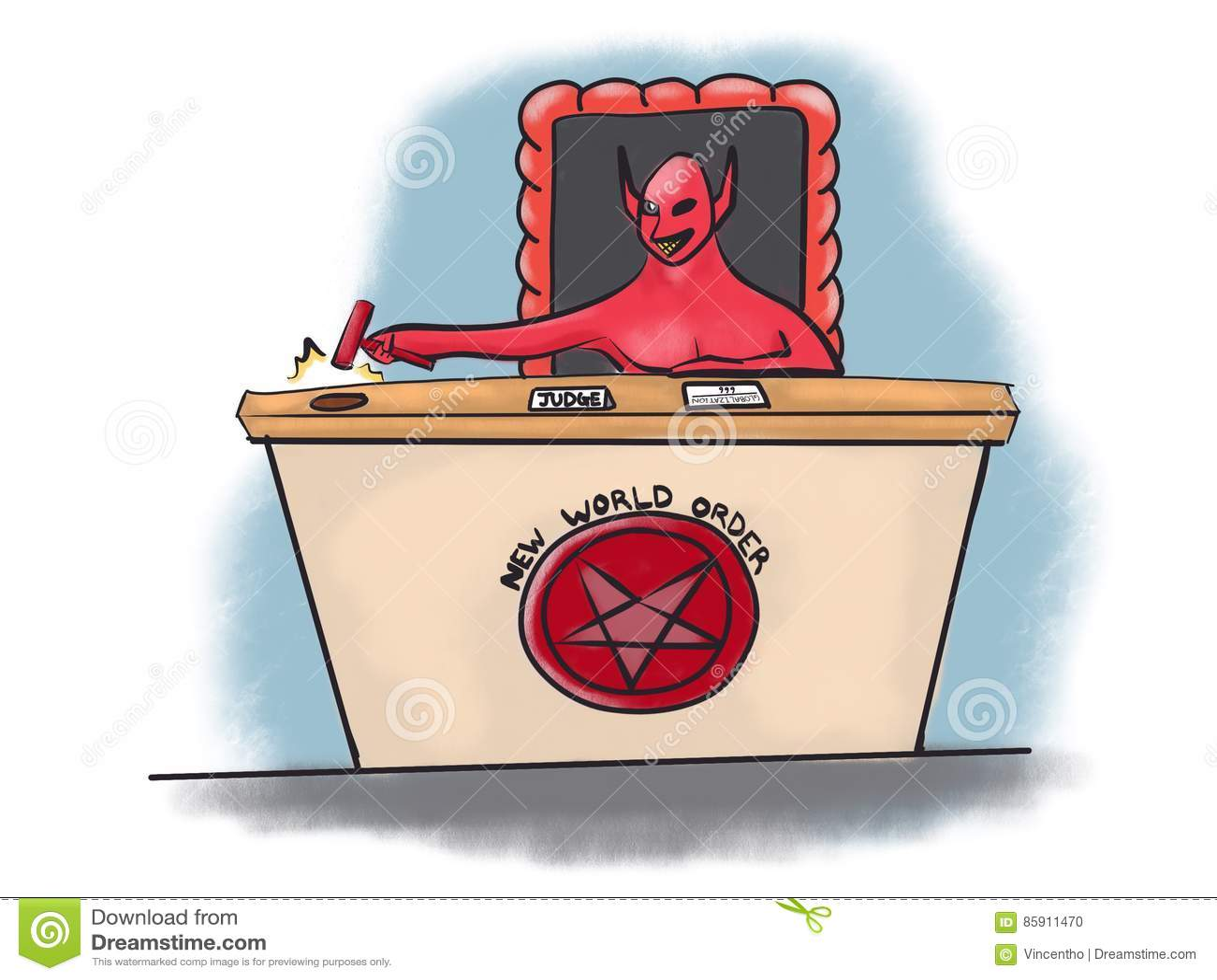 Juiz novo Globalization Cartoon Illustration do diabo do ordem mundial