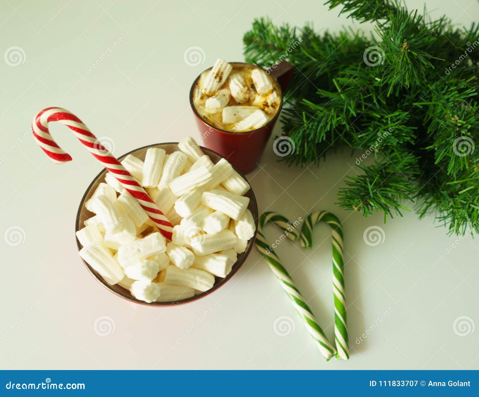 Jul bakgrund, hälsningkort med en kopp kaffe eller en choklad med marshmallower, godisrottingar, en röd platta och trädfilialer