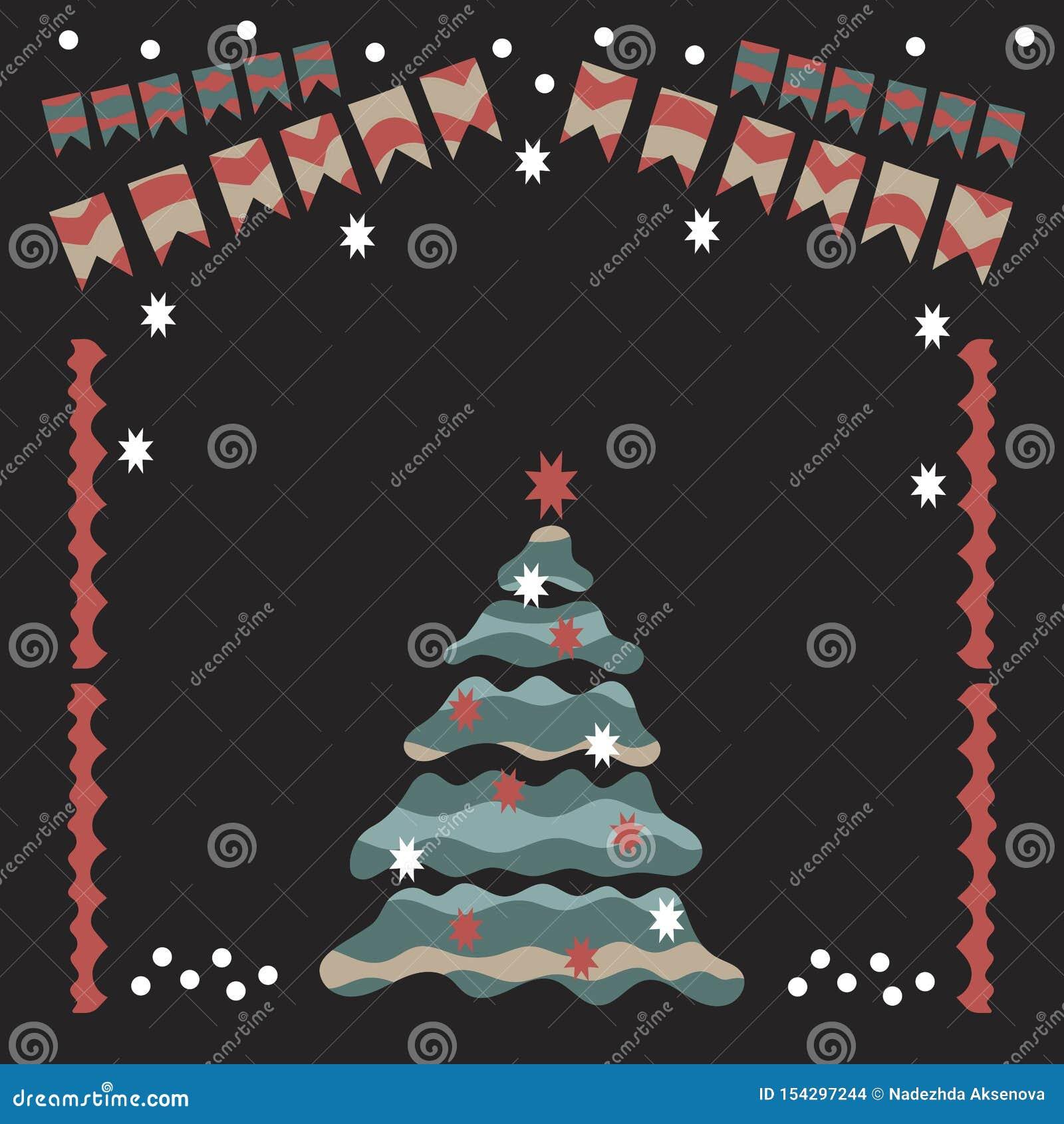 Jul girland, julgran, snö, julbollar, sockor och andra objekt