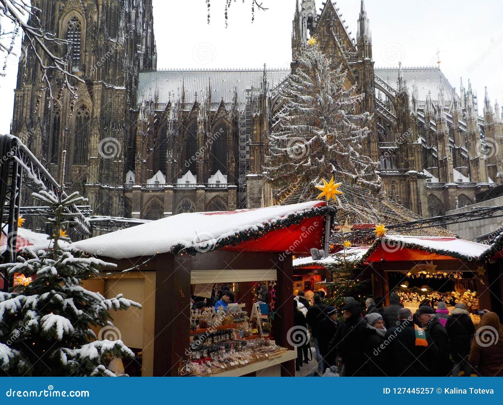 Jul i snöig Cologne, Tyskland Julmarknader