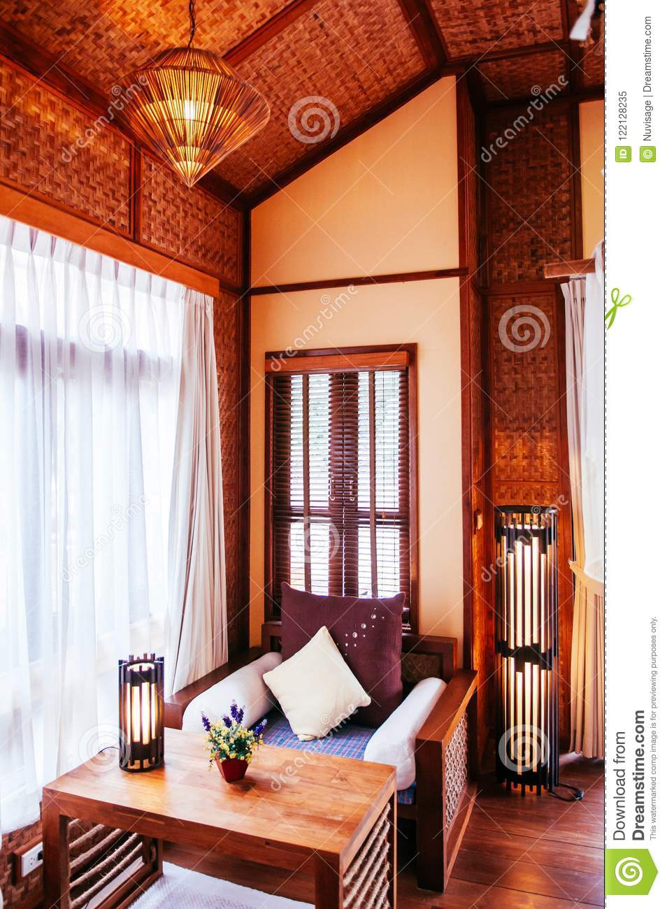 Awe Inspiring Asian Living Room Interior With Wooden Couch And Table Onthecornerstone Fun Painted Chair Ideas Images Onthecornerstoneorg