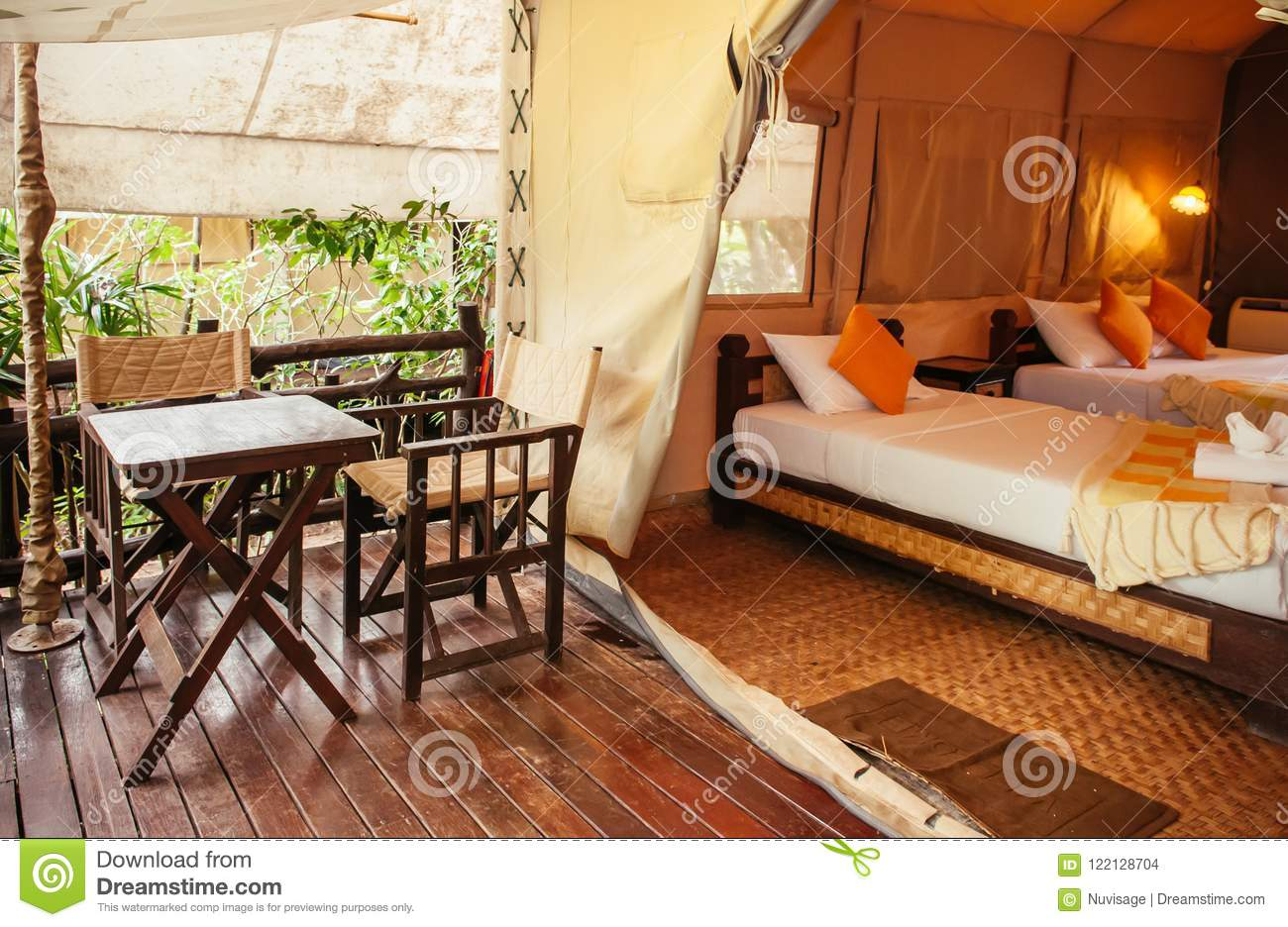 Interior of luxurious camping resort in nature forest, glamping