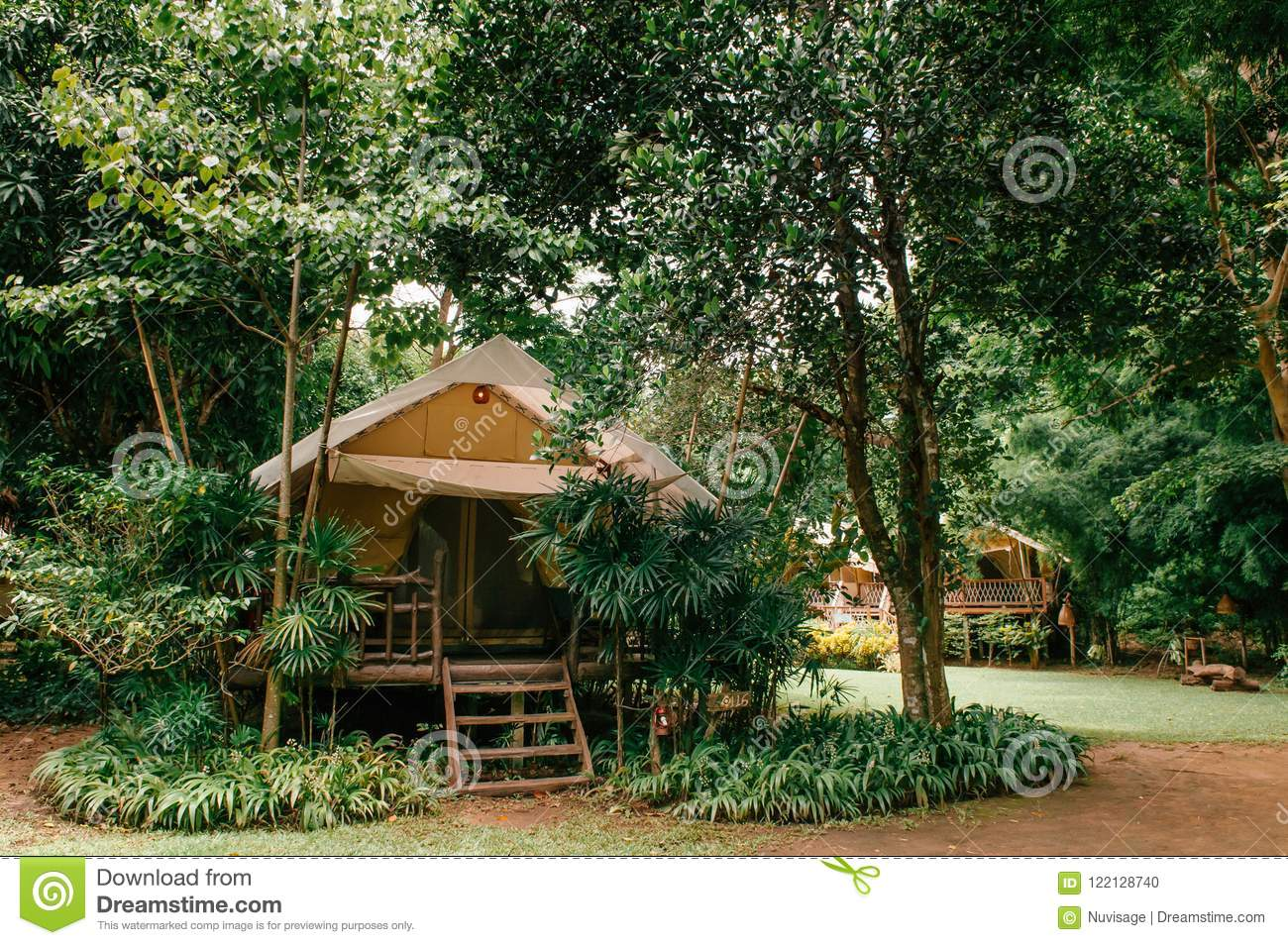 Luxurious camping resort in nature forest, glamping vacation in