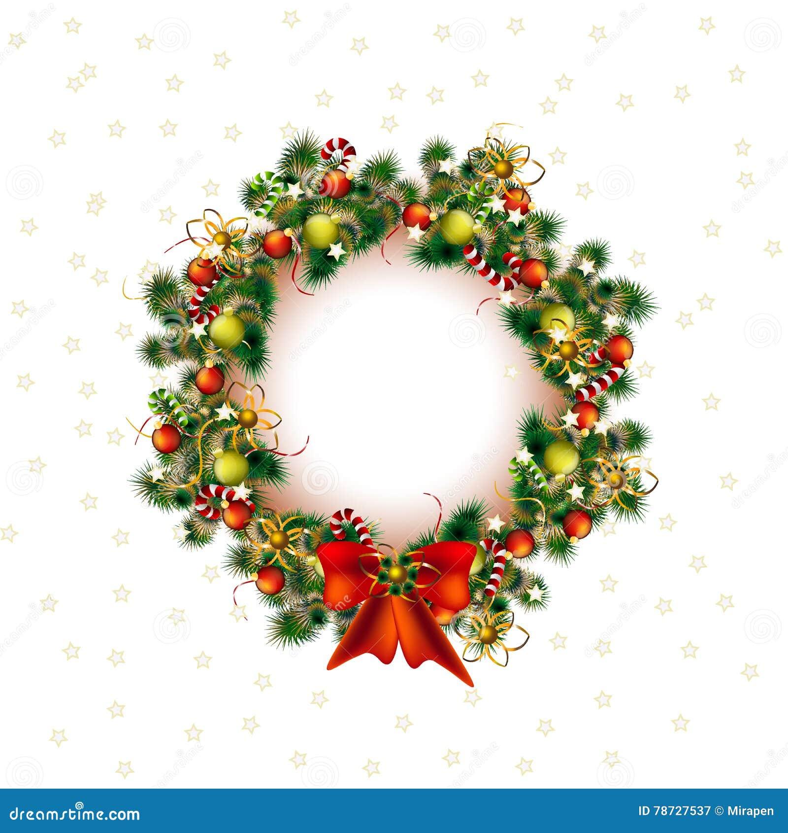 Jul krans, juldekoträd i vit bakgrund, vektor
