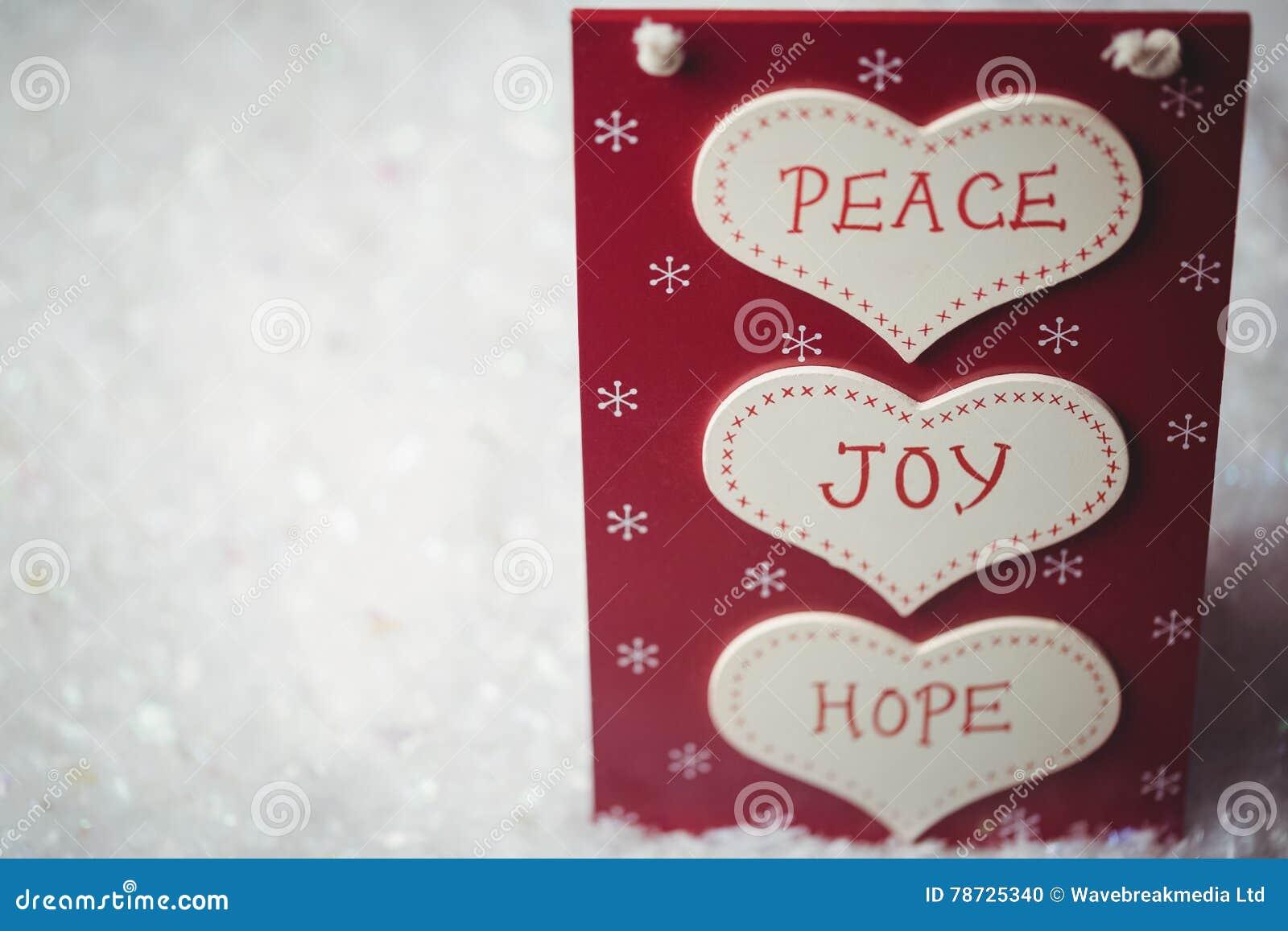 Jul märker med massager av fred, glädje och hopp