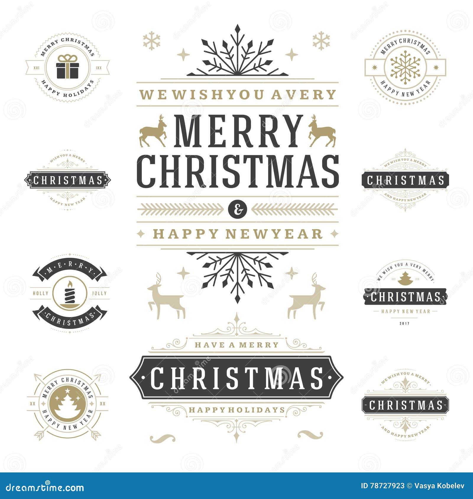 Jul märker och förser med märke uppsättningen för vektordesignbeståndsdelar