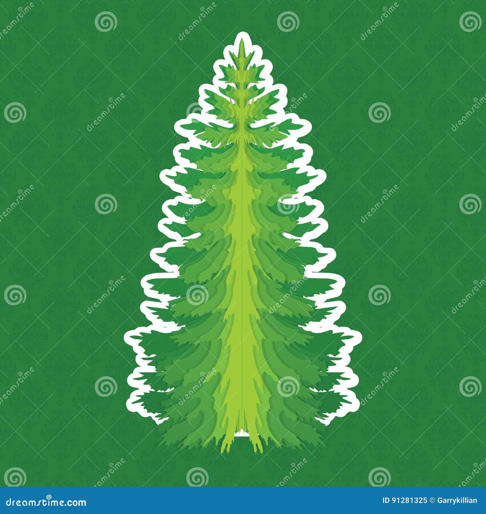 Jul min version för portföljtreevektor isolerat sörja treen På damast bakgrund Utformat som papperssnitt