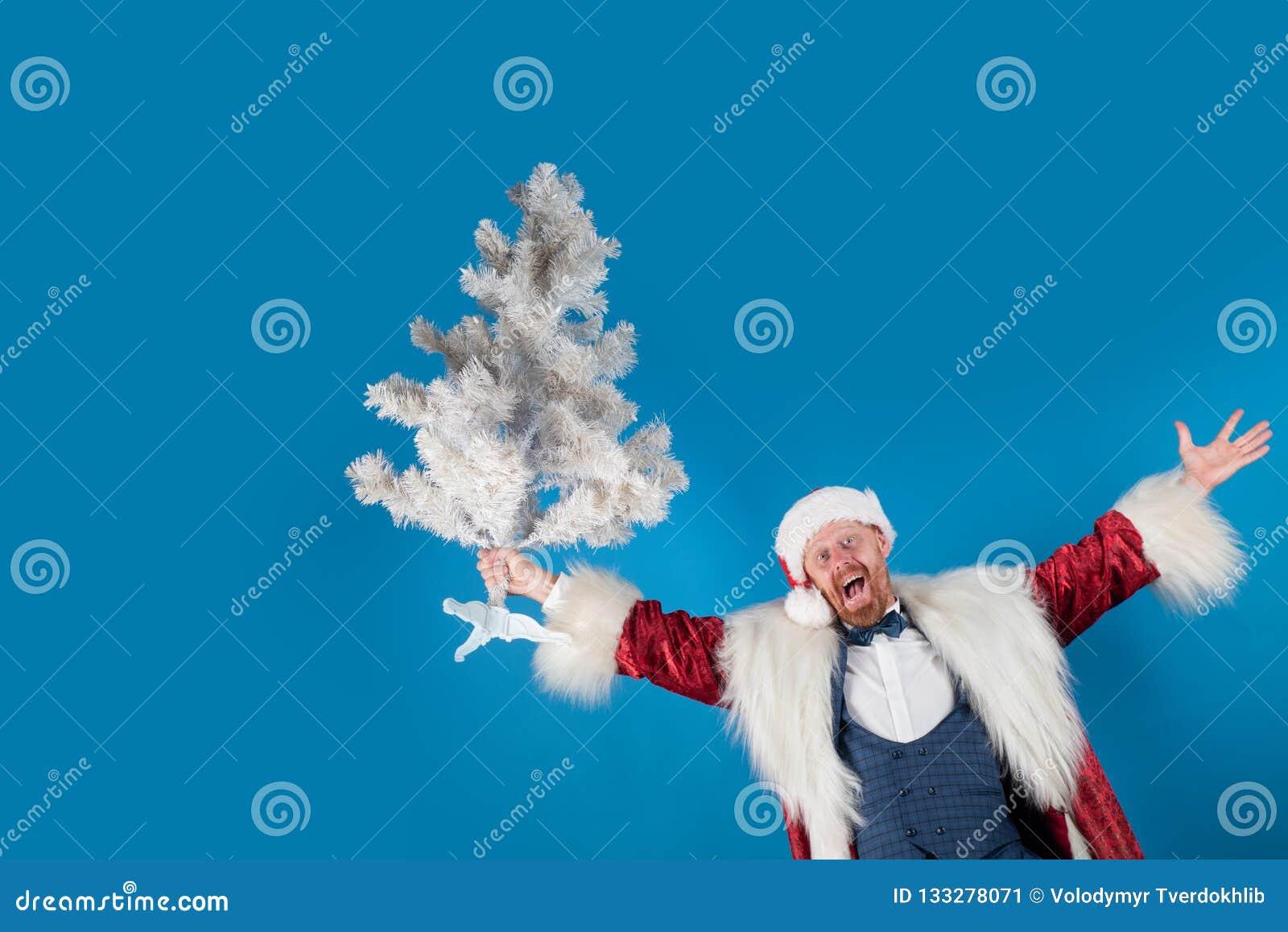 Jul min version för portföljtreevektor Komisk grimas Positiva mänskliga sinnesrörelseansiktsuttryck eufori Santa Claus önskar gla