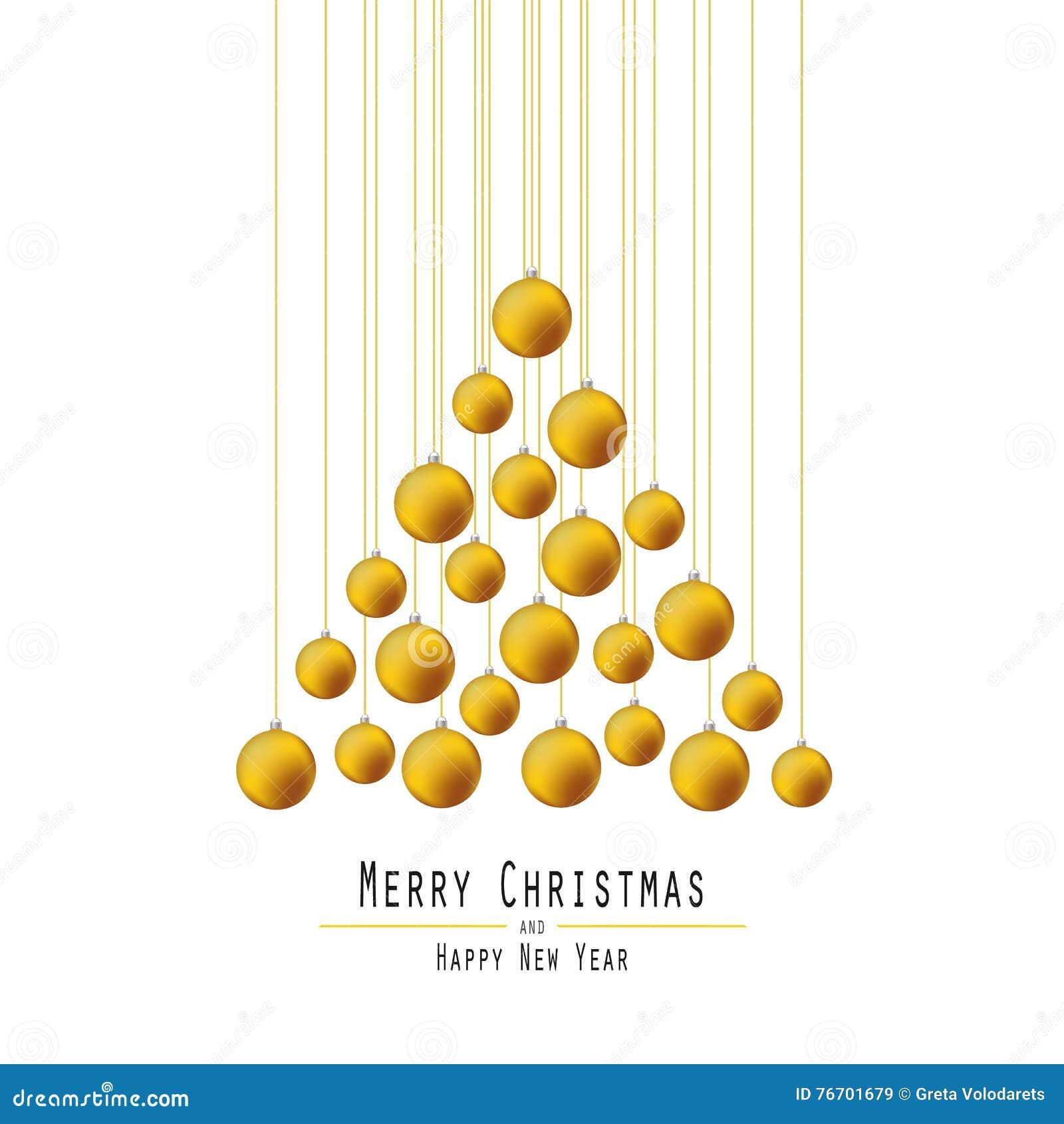 Jul min version för portföljtreevektor Räcka bollar Guld