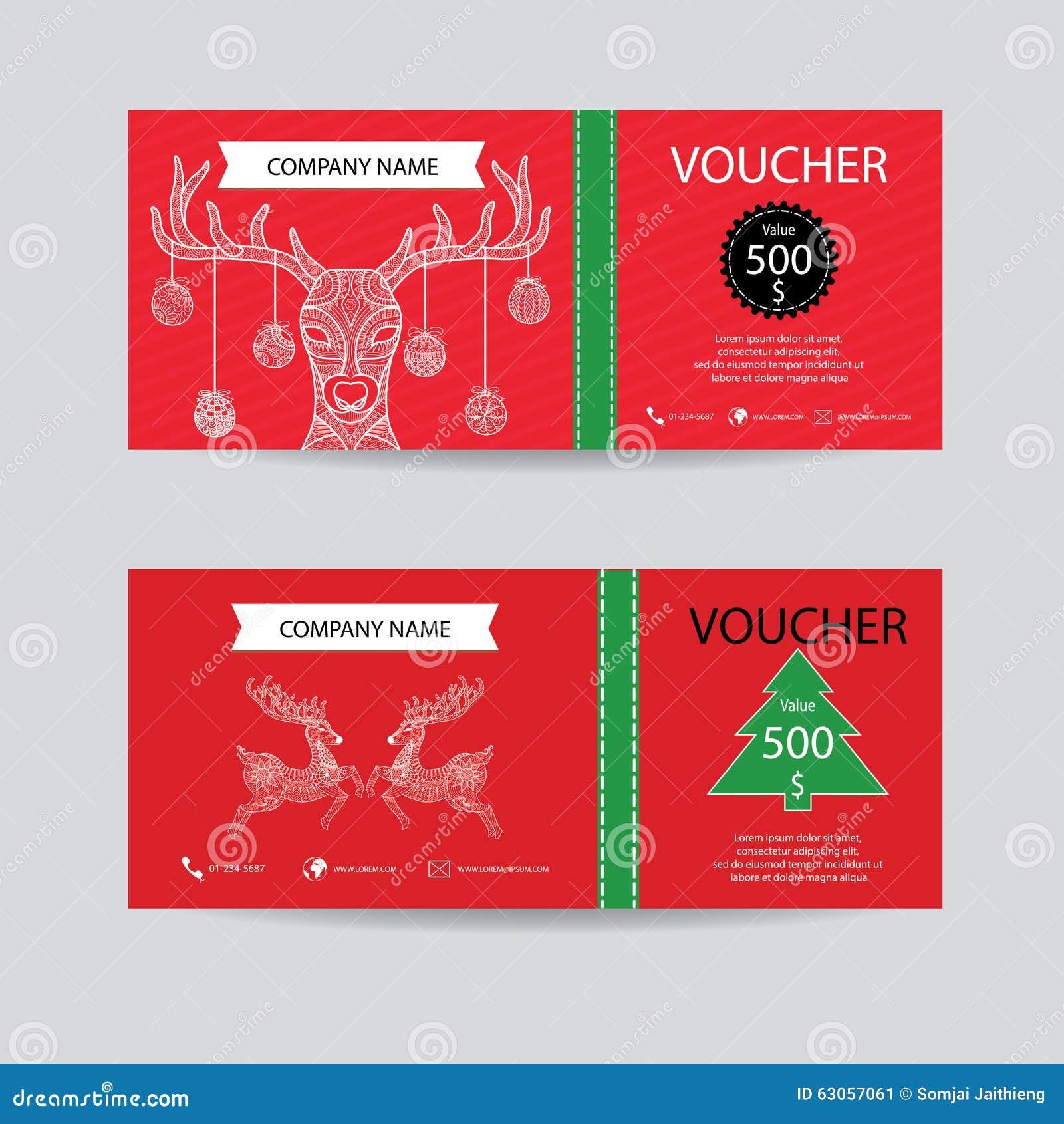 Jul och presentkortet för nytt år tilldelar intyg kupongmallen Dekorera med den detaljerade handen dragen stil för julhjortzentan