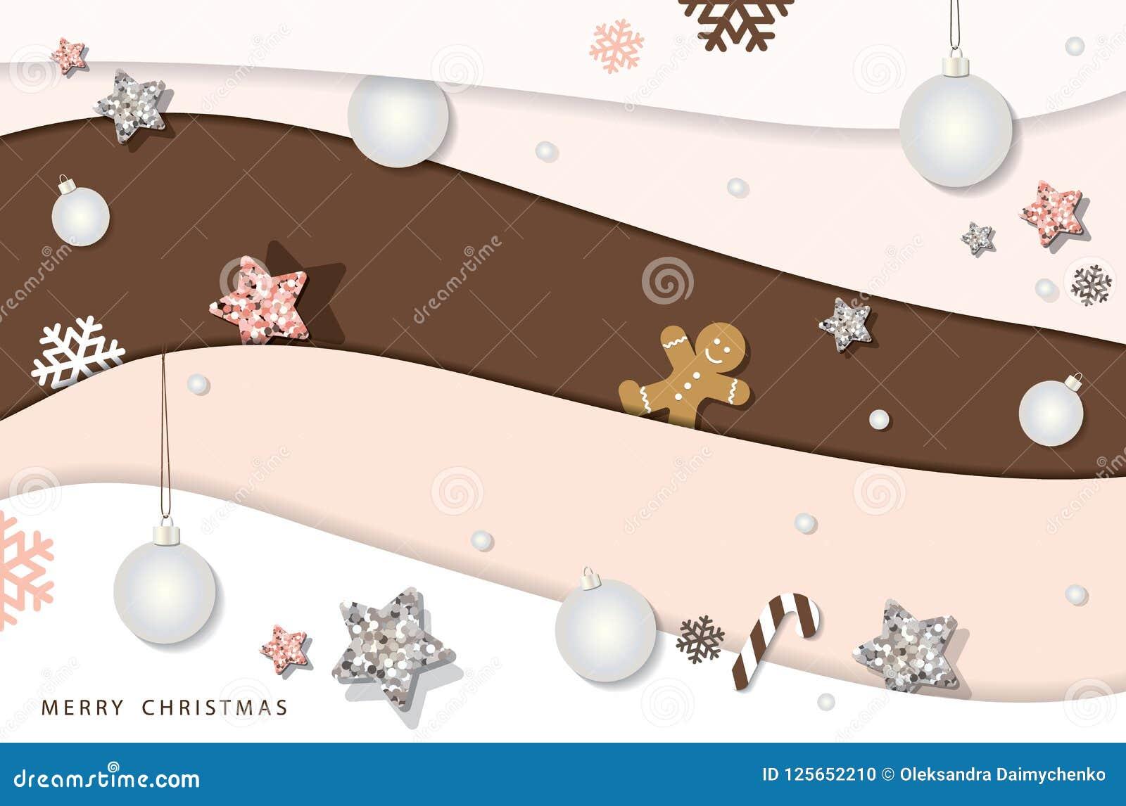 Jul och vinterbakgrund för lyckligt nytt år Pappers- utklipplager som dekoreras med blänker stjärnor, snöflingor och bollar