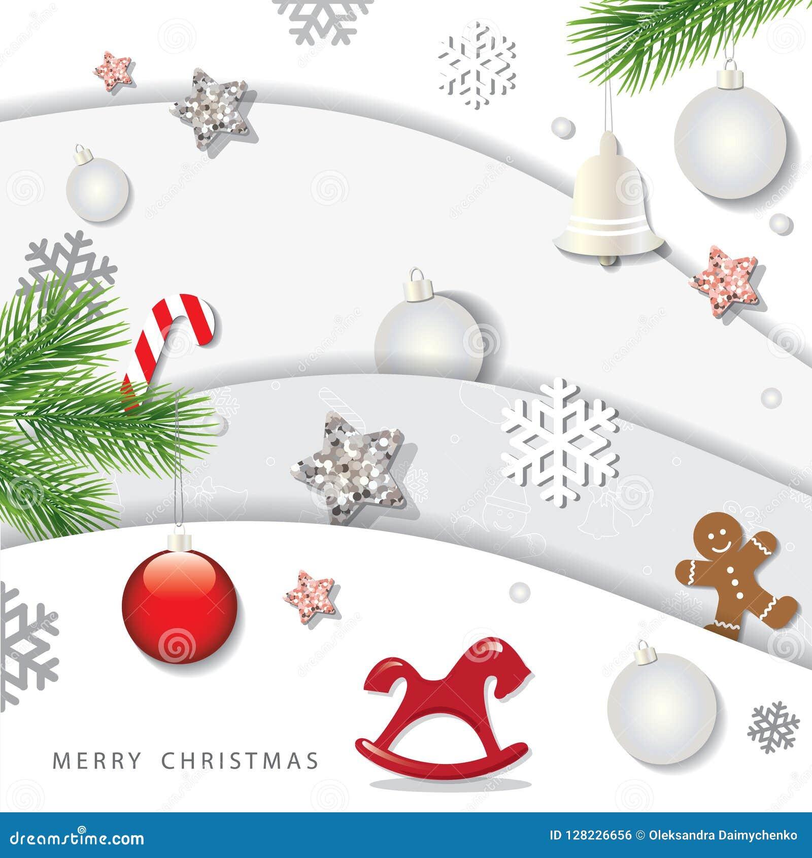 Jul och vinterbakgrund för lyckligt nytt år utklipplager för papper 3d med dekorativa beståndsdelar