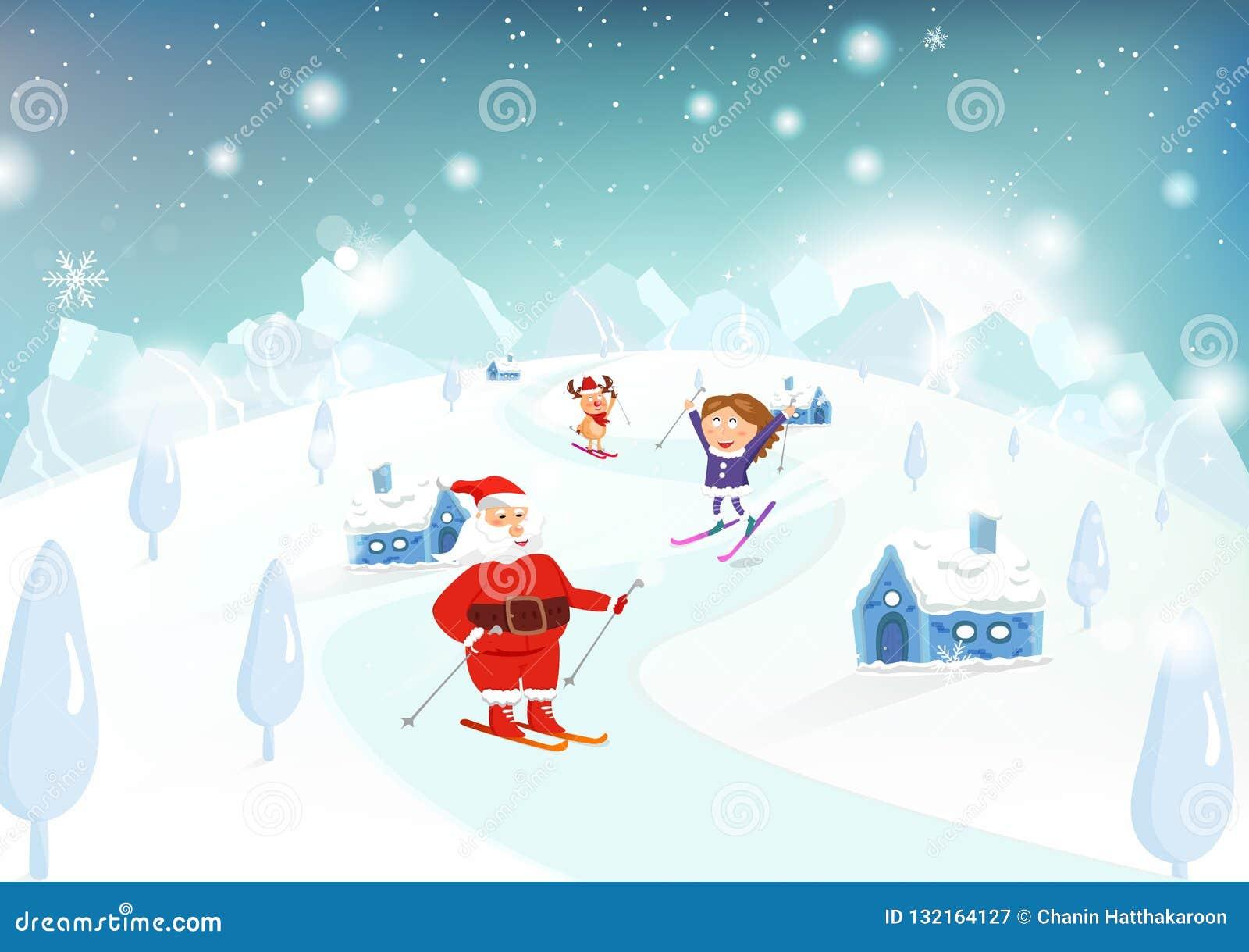 Jul-, Santa Claus, unge- och renskidåkning på berg in