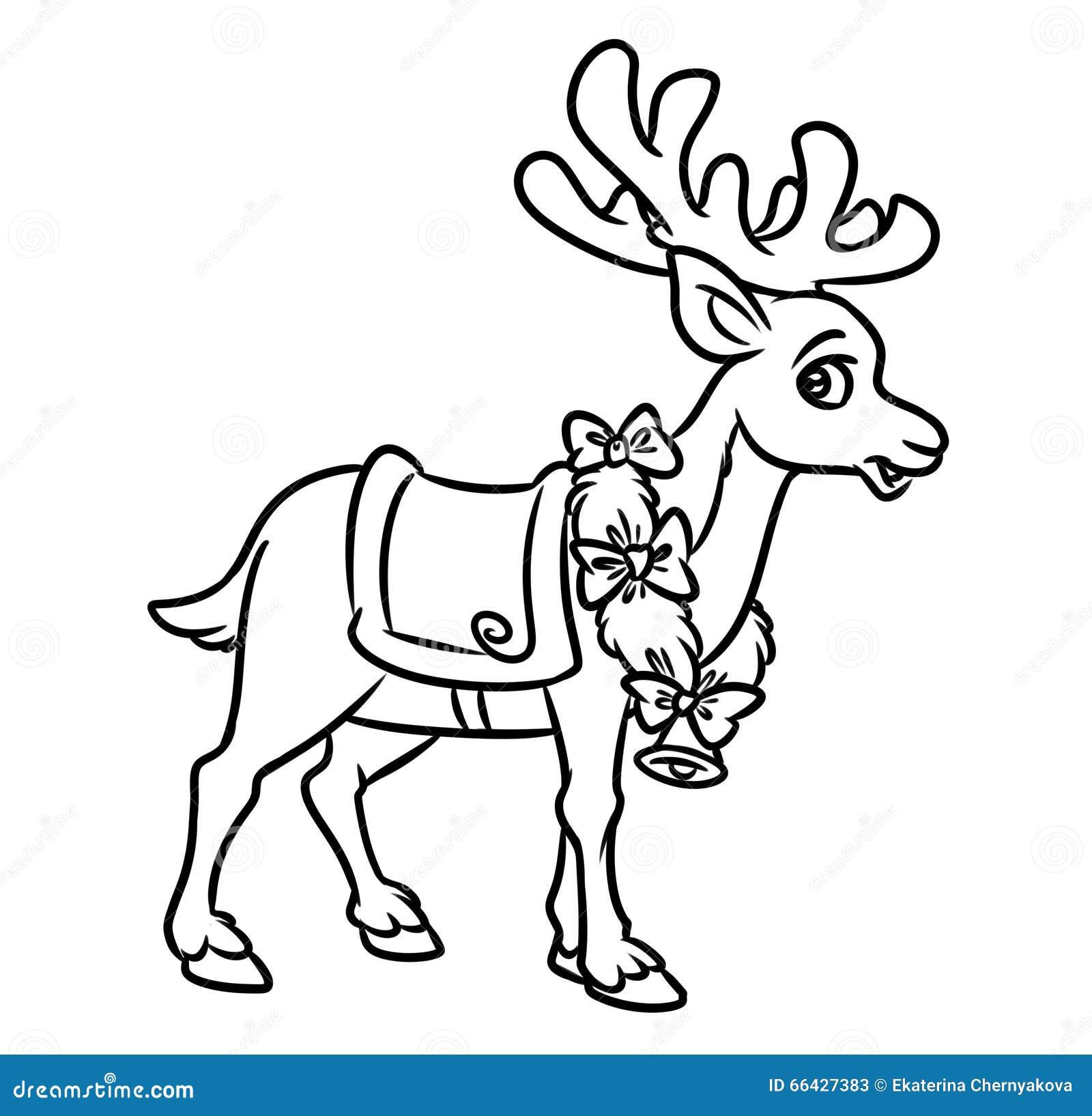 Jul santa reindeer coloring pages stock illustrationer for Reindeer color pages