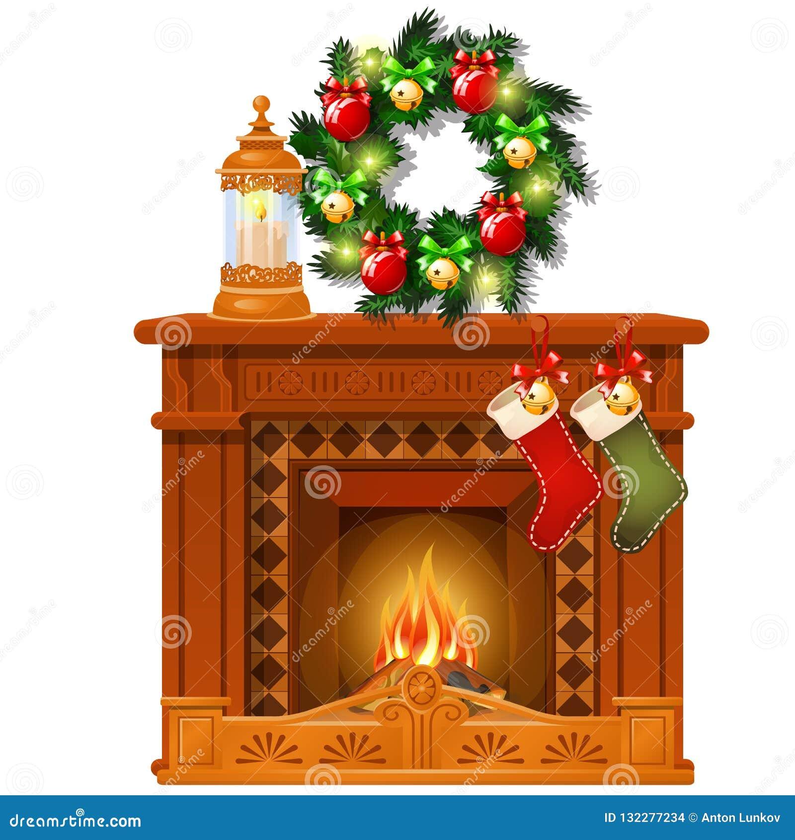 Jul skissar med spisen och garneringar, exponeringsglasbollar och struntsaker Skissa för hälsningkortet, festlig affisch
