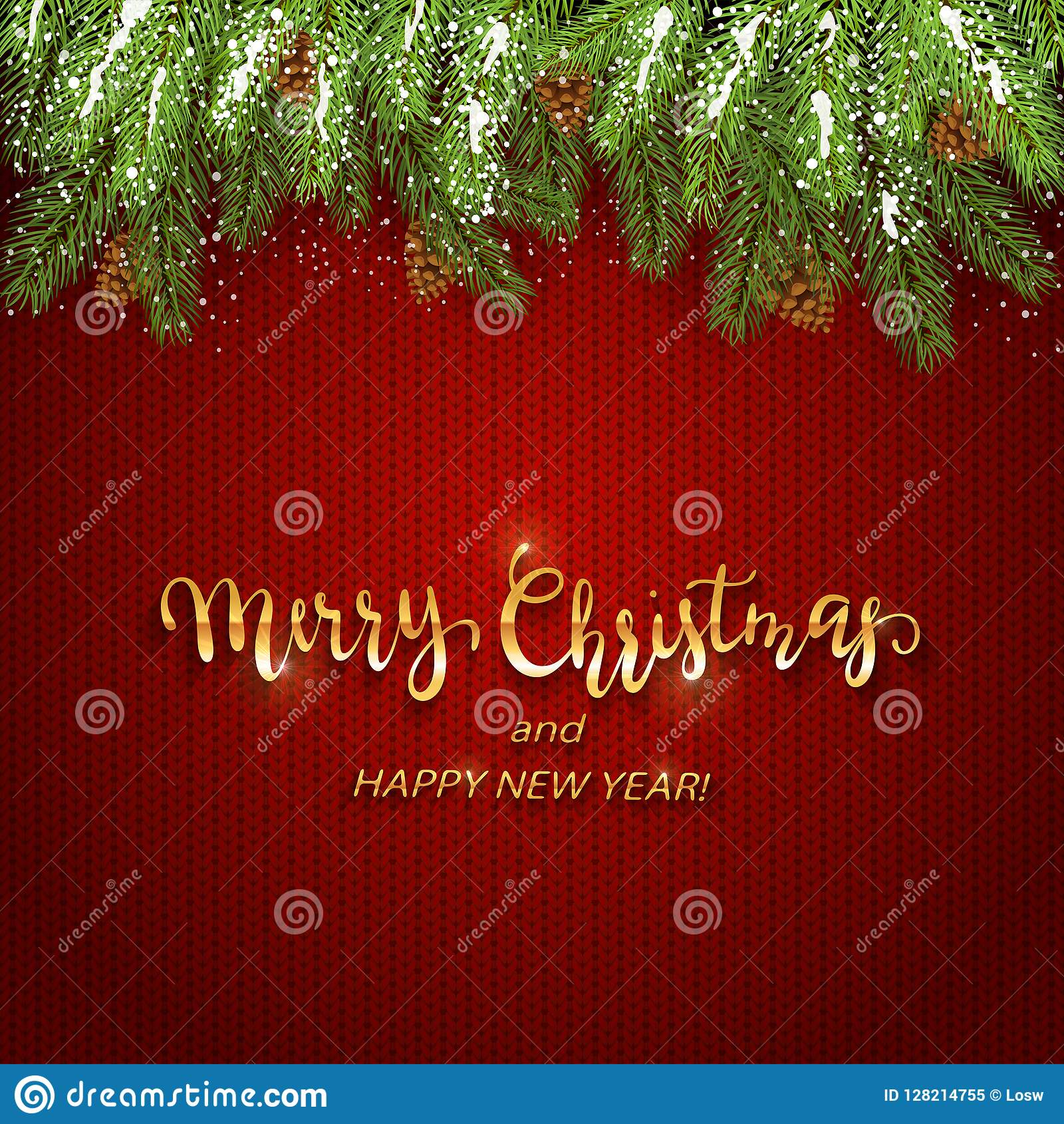Jul som märker på röd stucken bakgrund med kli för granträd