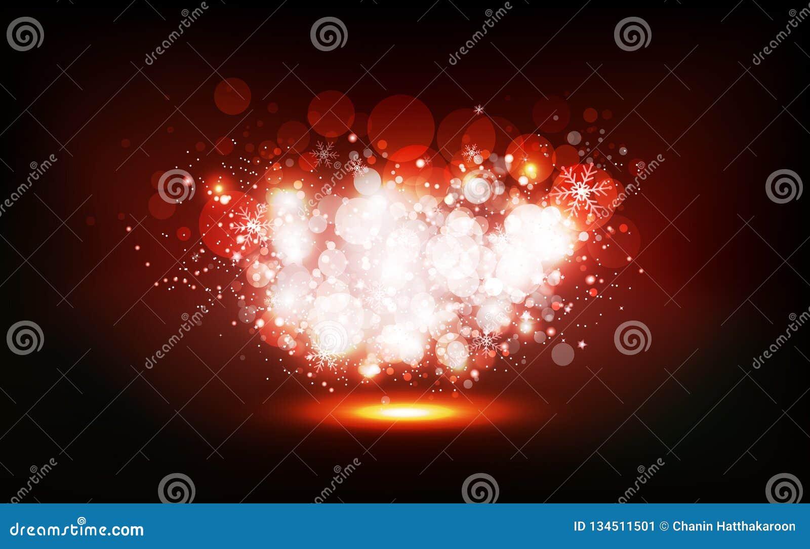 Jul vintern, stjärnor sprider för att skimra partiet för neonberömkonfettier, ljust damm som glöder, Bokeh oskarp abstrakt bakgru