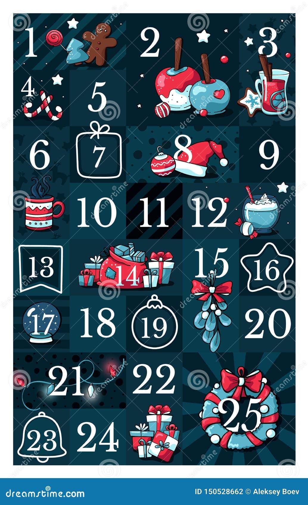 Juladventkalender, utdragen klotterstil för gullig hand Samling för tjugofem etiketter för julnedräkning tryckbar med