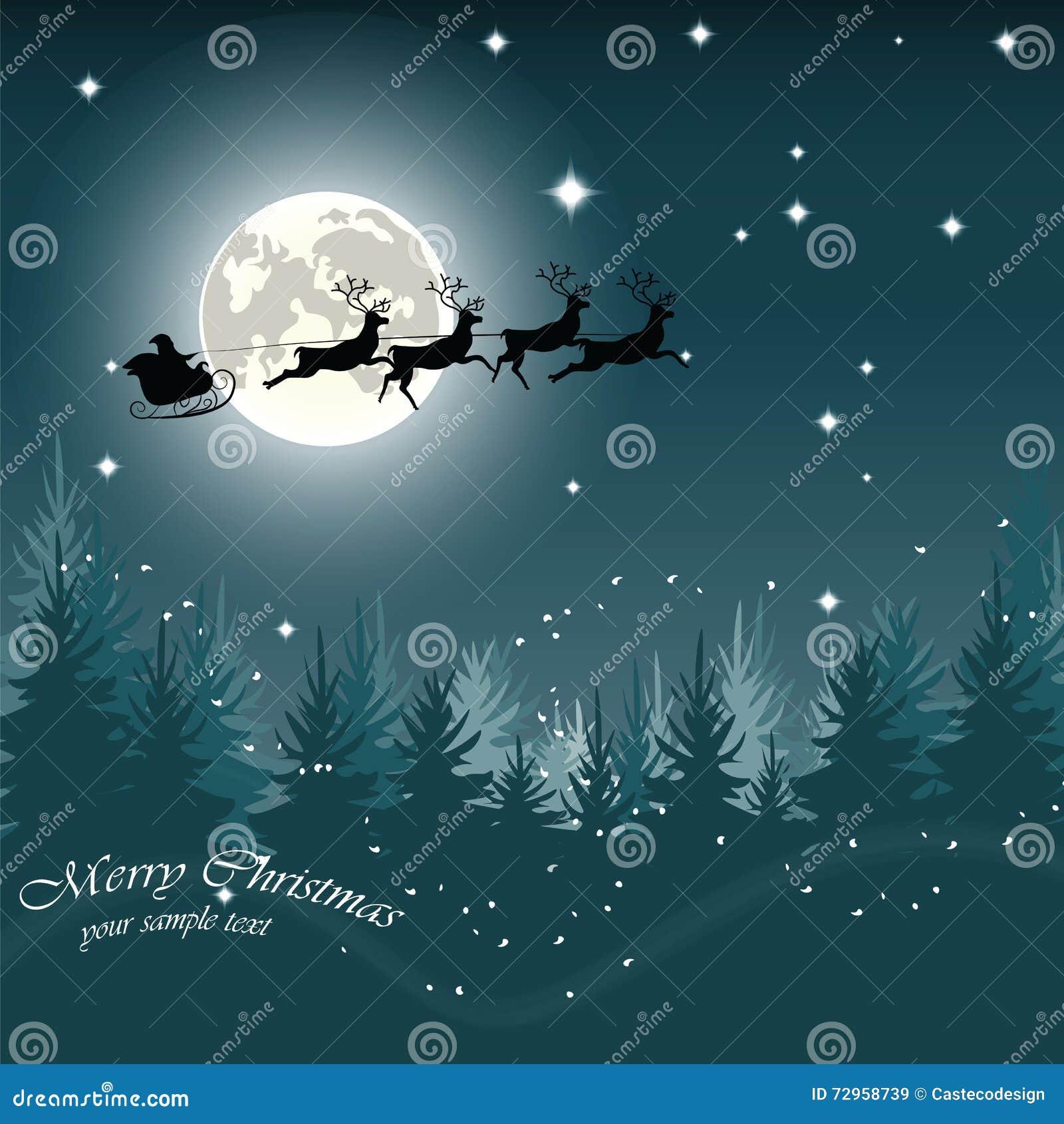 Julaftonkort med jultomten släde och ren