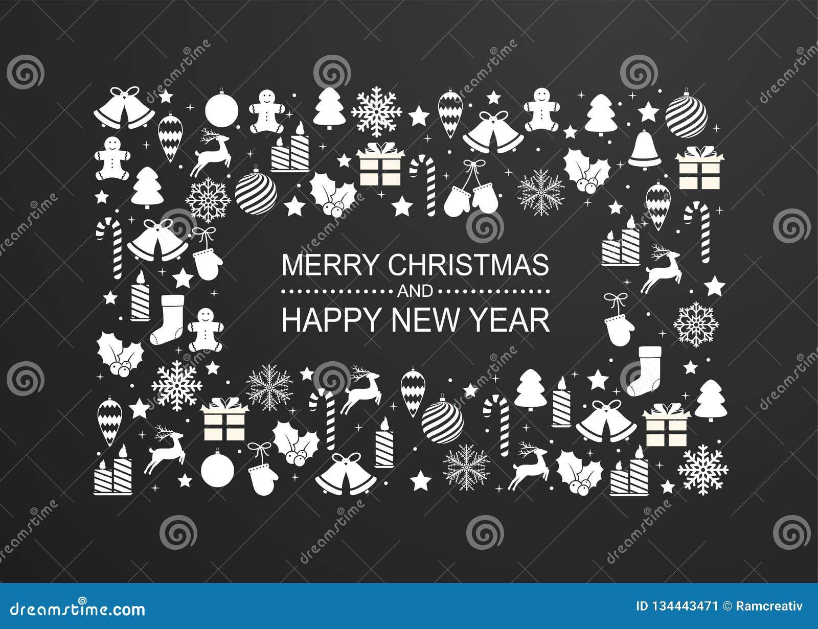 Julbakgrund med ramen av vita garneringar för vinterferie Lyckligt hälsningskort för nytt år