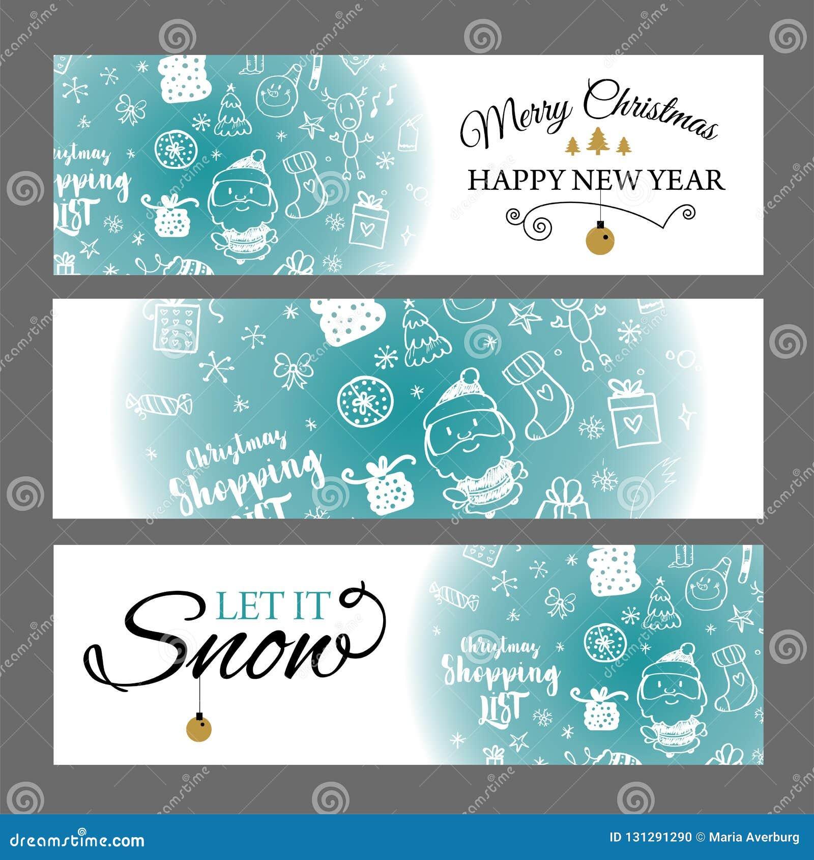 Julbaner ställde in med designbeståndsdelar i klotterstil Med snöramar på vit bakgrund