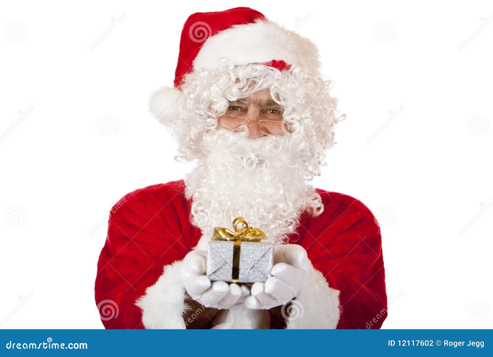 Julclaus gåva lyckliga rymmande santa
