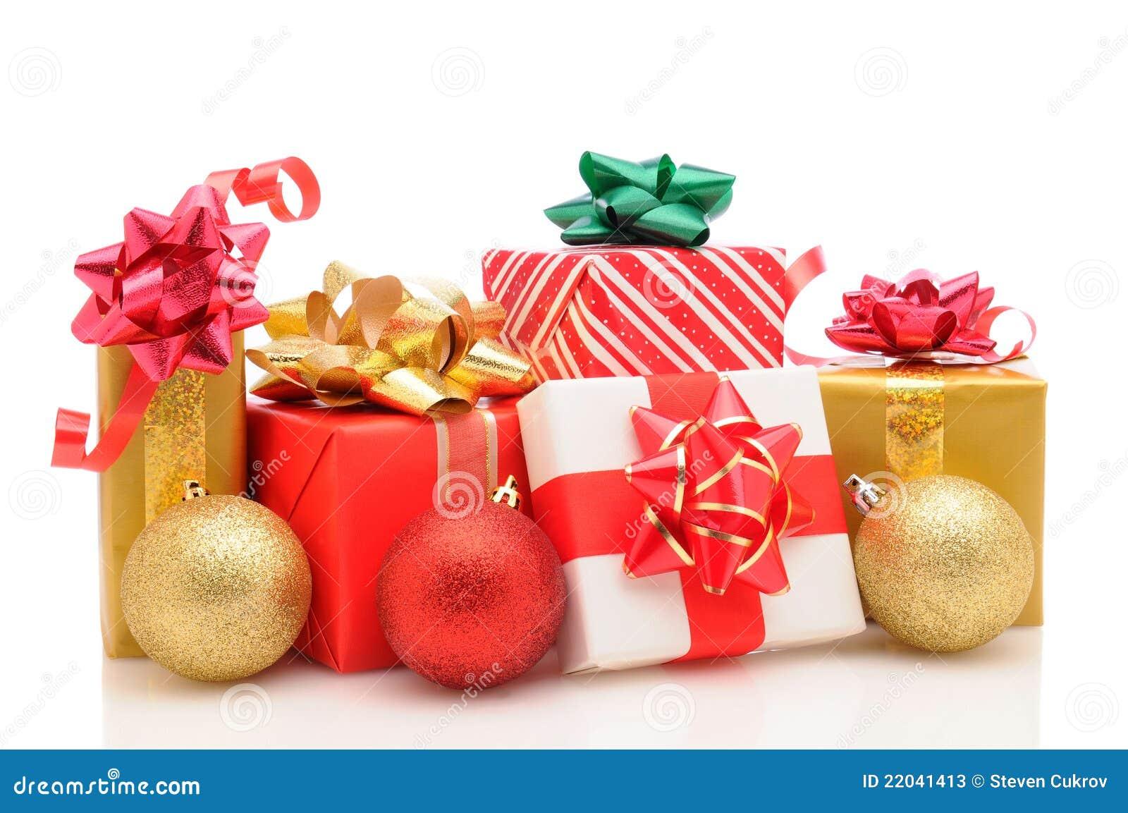 Julen smyckar vita presents
