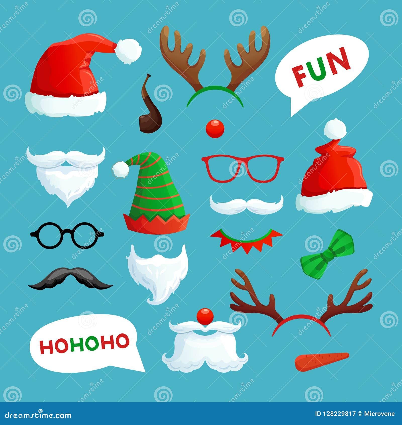 Julfotobås Samling för vektor för stöttor för xmas för jultomtenhatt-, mustasch-, skägg- och renhorn på kronhjort