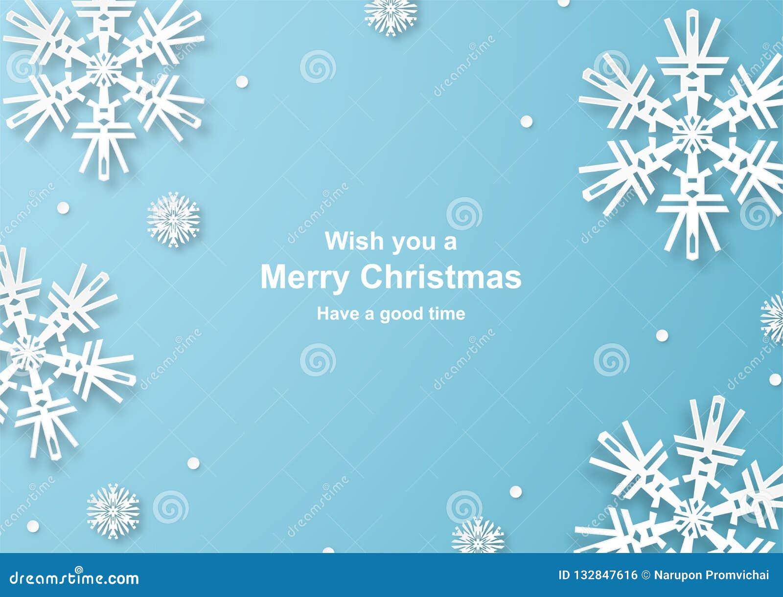 Julgarnering på blå bakgrund i papperssnitt och hantverk w