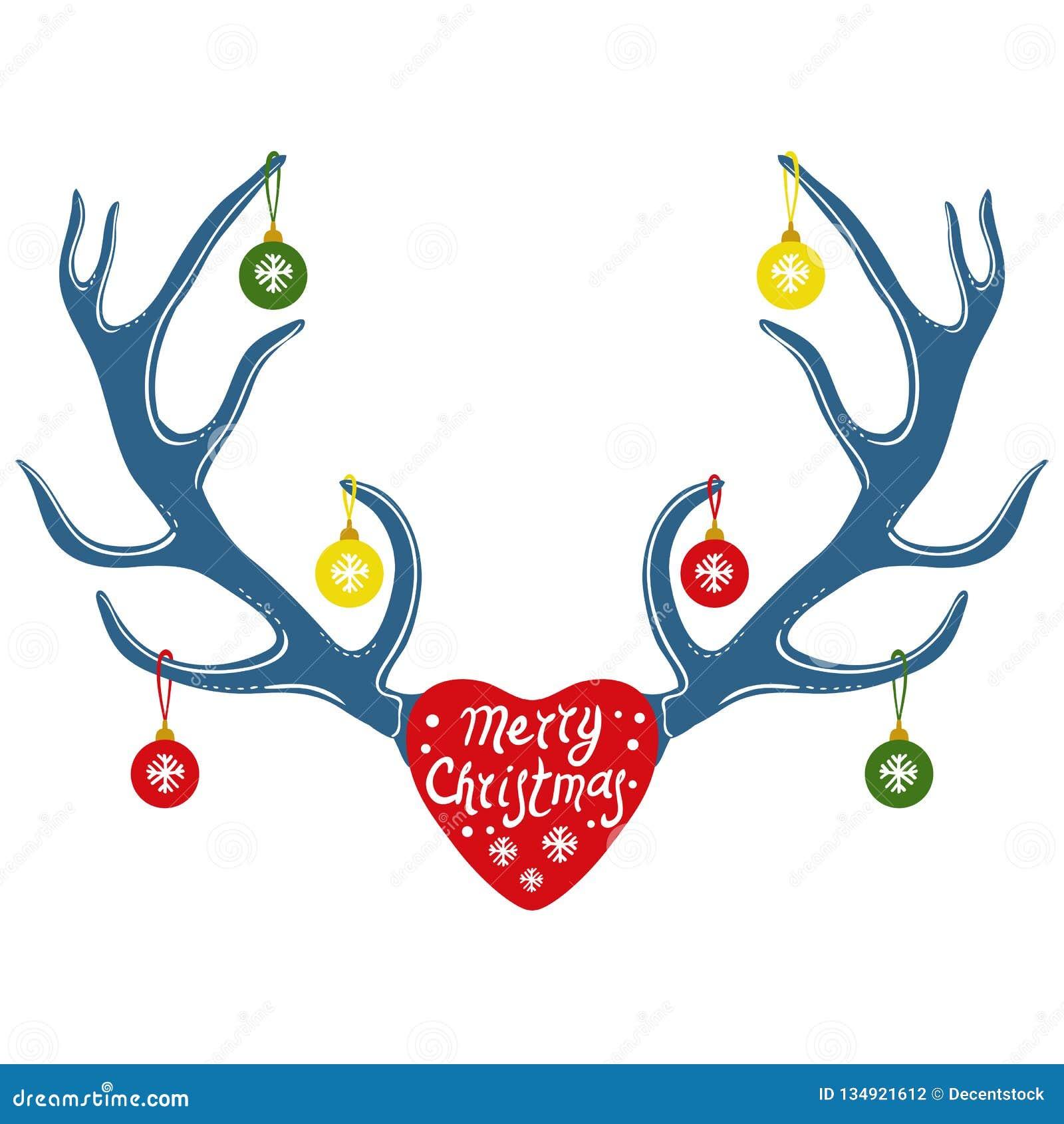 Julgarnering på renhorn, vektorillustration