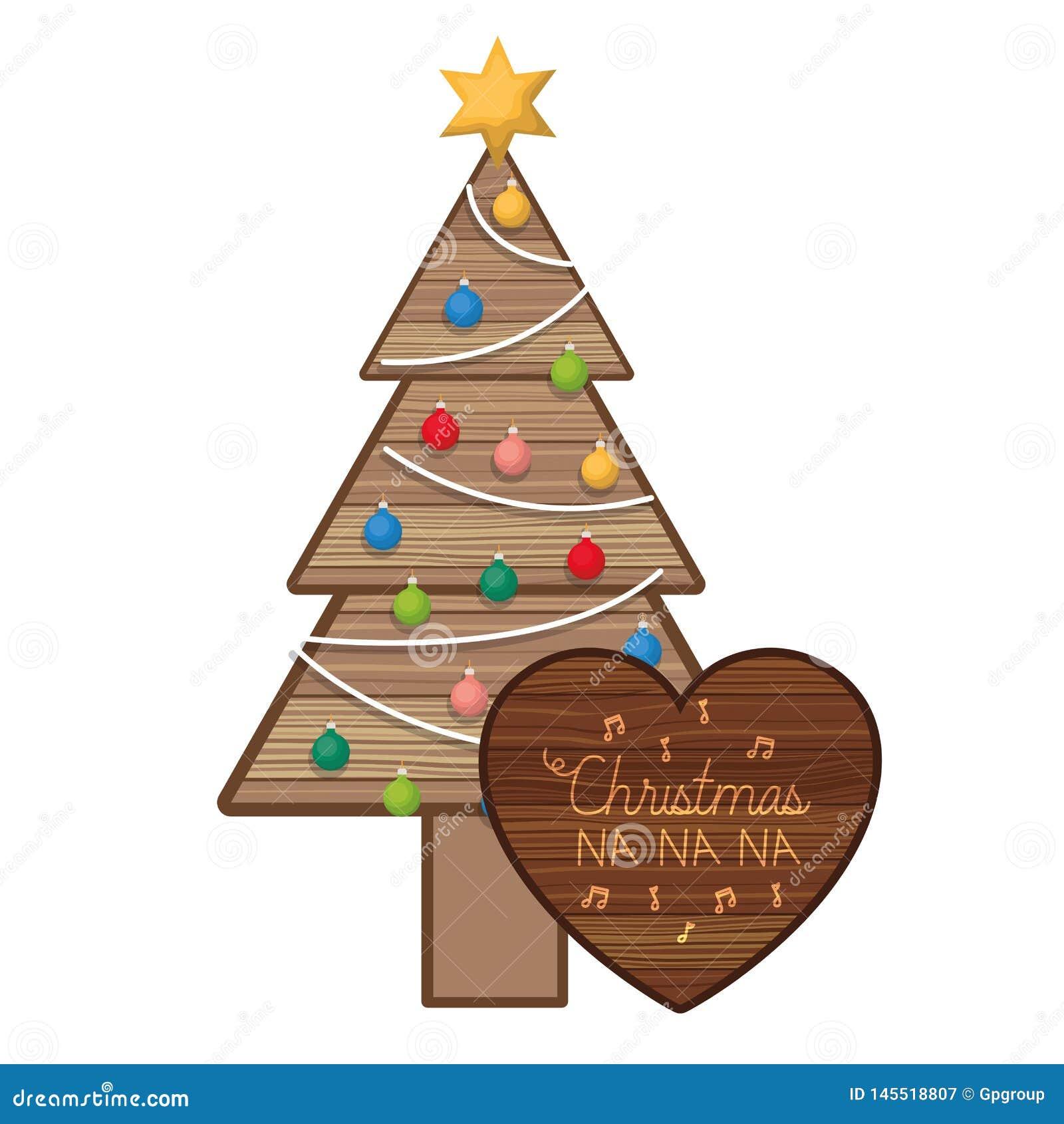 Julgran i trä med hängande bollar