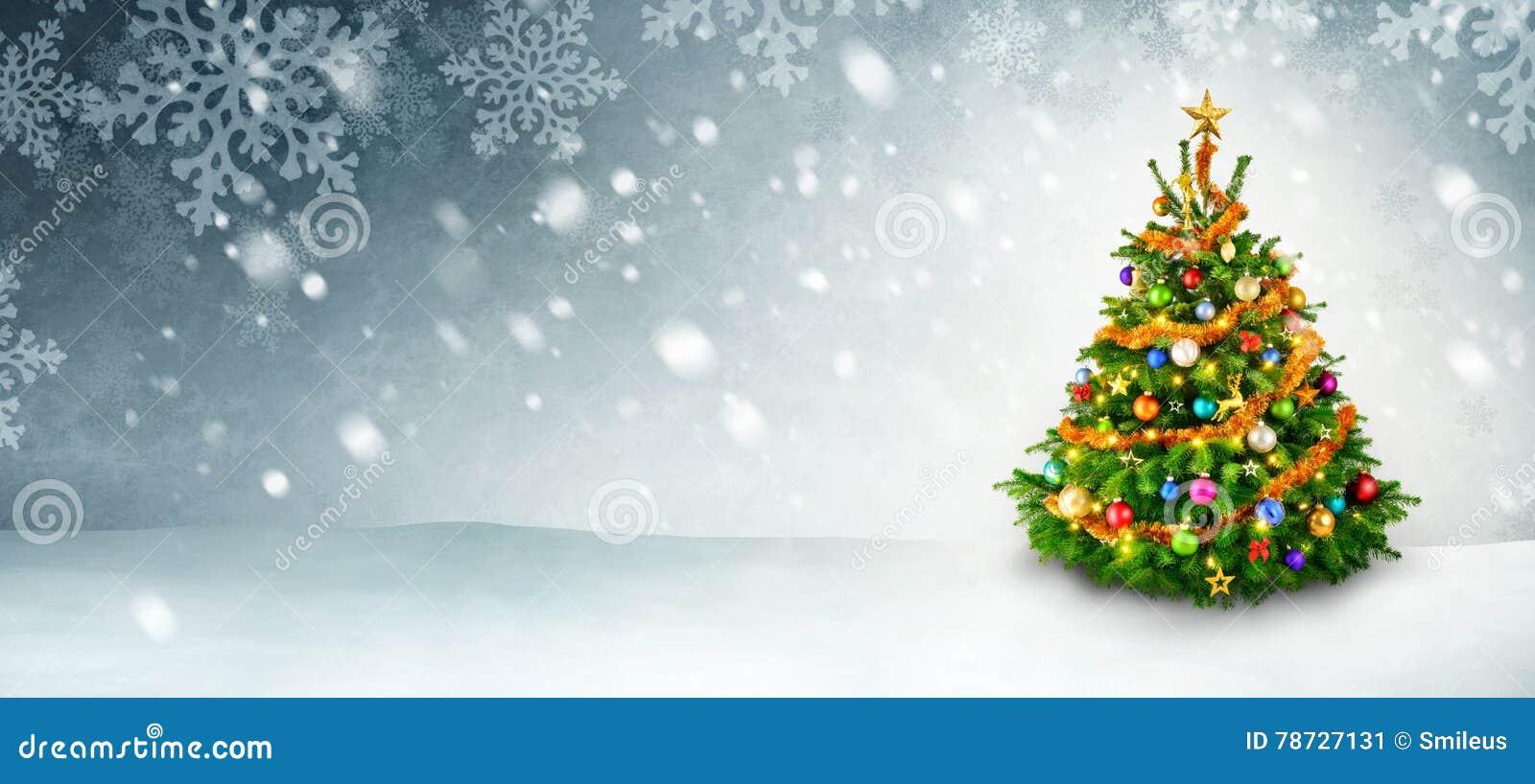 Julgran- och snowbakgrund