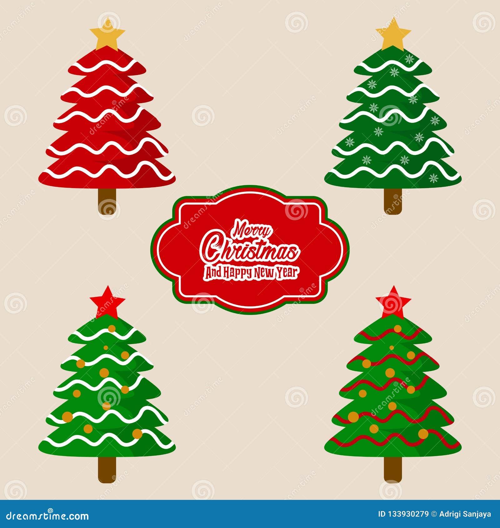 Julgranar och märka den dekorativa beståndsdelvektorn
